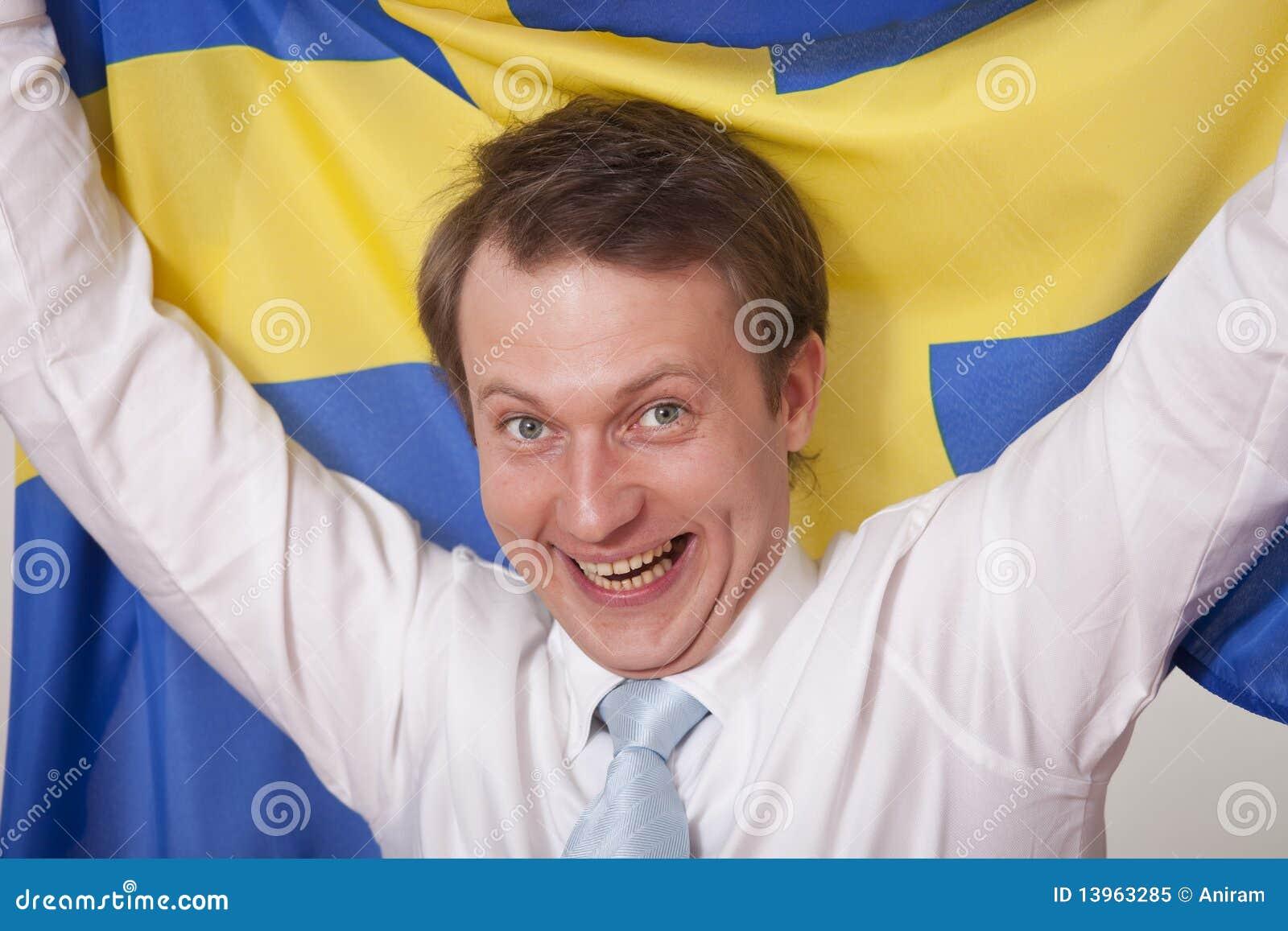 Fan with sweden flag