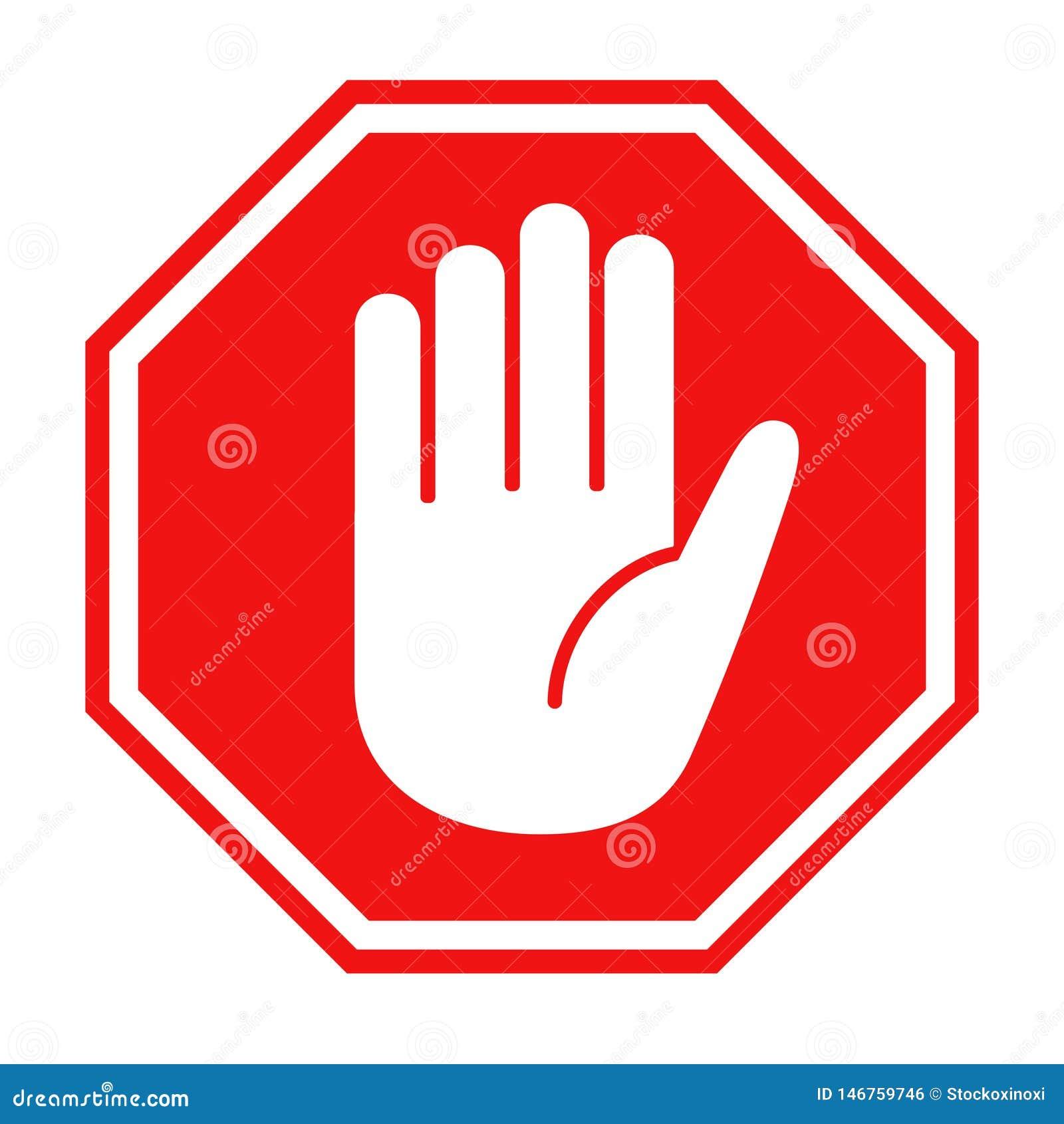 Fanale di arresto rosso con l illustrazione di vettore dell icona di simbolo della grande mano