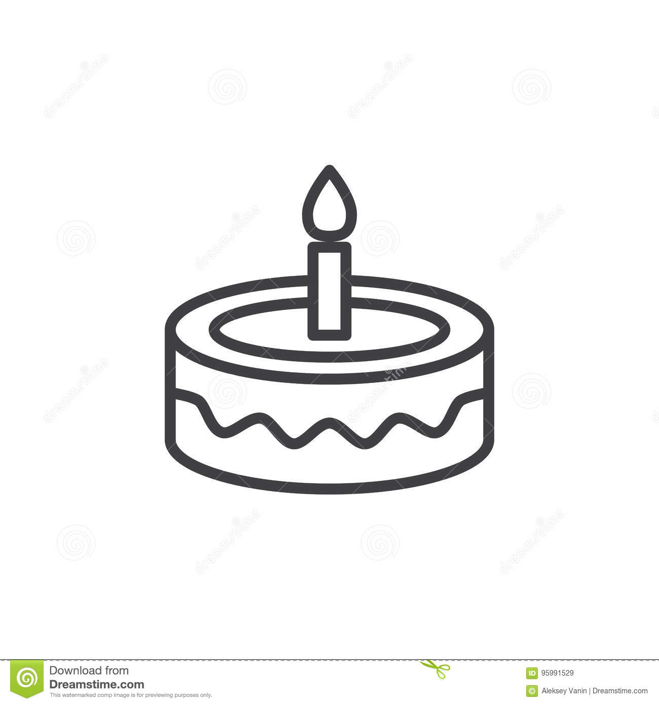 Fancy Birthday Cake Line Icon Outline Vector Sign Linear Style