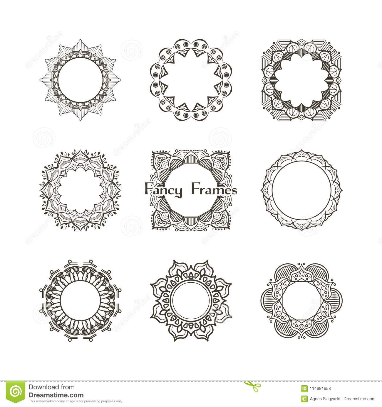 Fancy frames collection stock vector. Illustration of ethnic - 114691658
