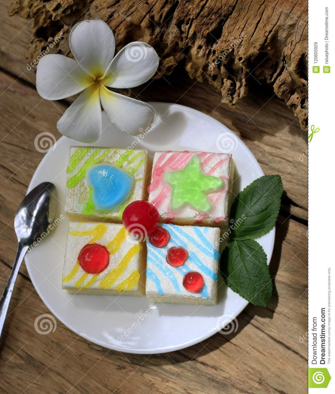 Fancy Cake On Old Wooden Floor Stock Image Image Of Birthday