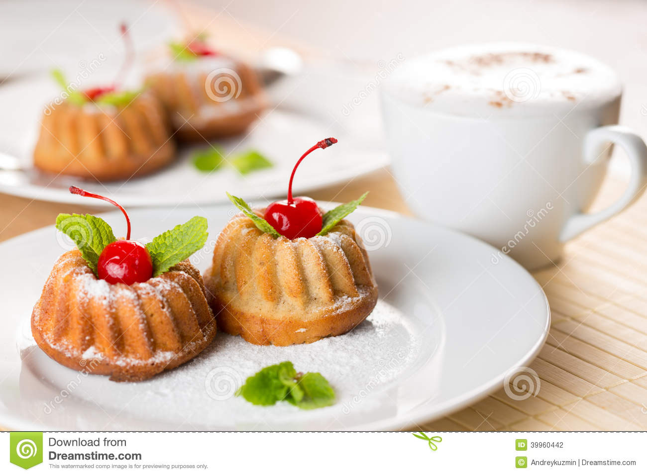 Fancy Cakes Dessert With Cappuccino Coffee Stock Photo