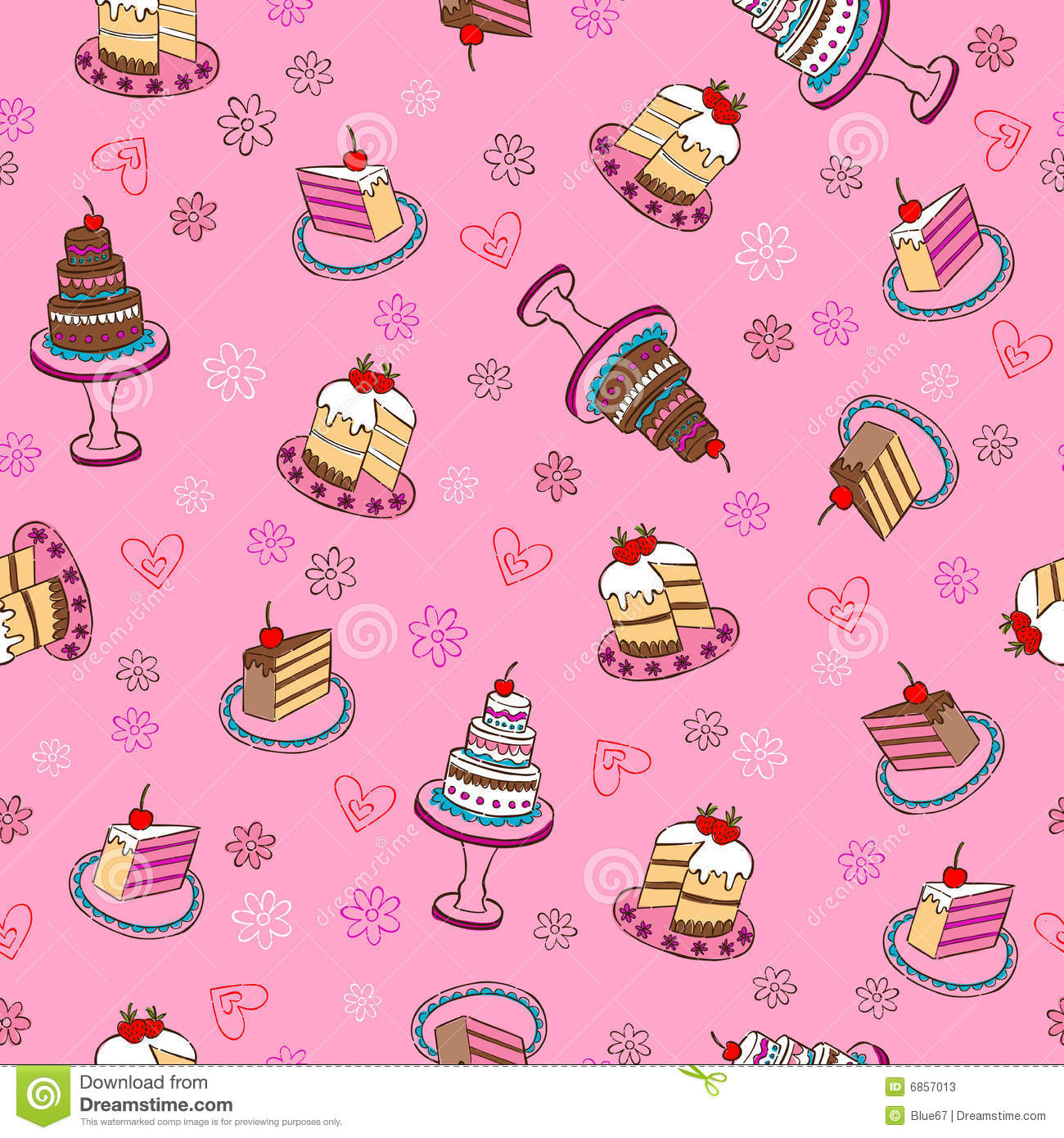 Fancy Cakes Seamless Repeat Pattern Stock Photos Image