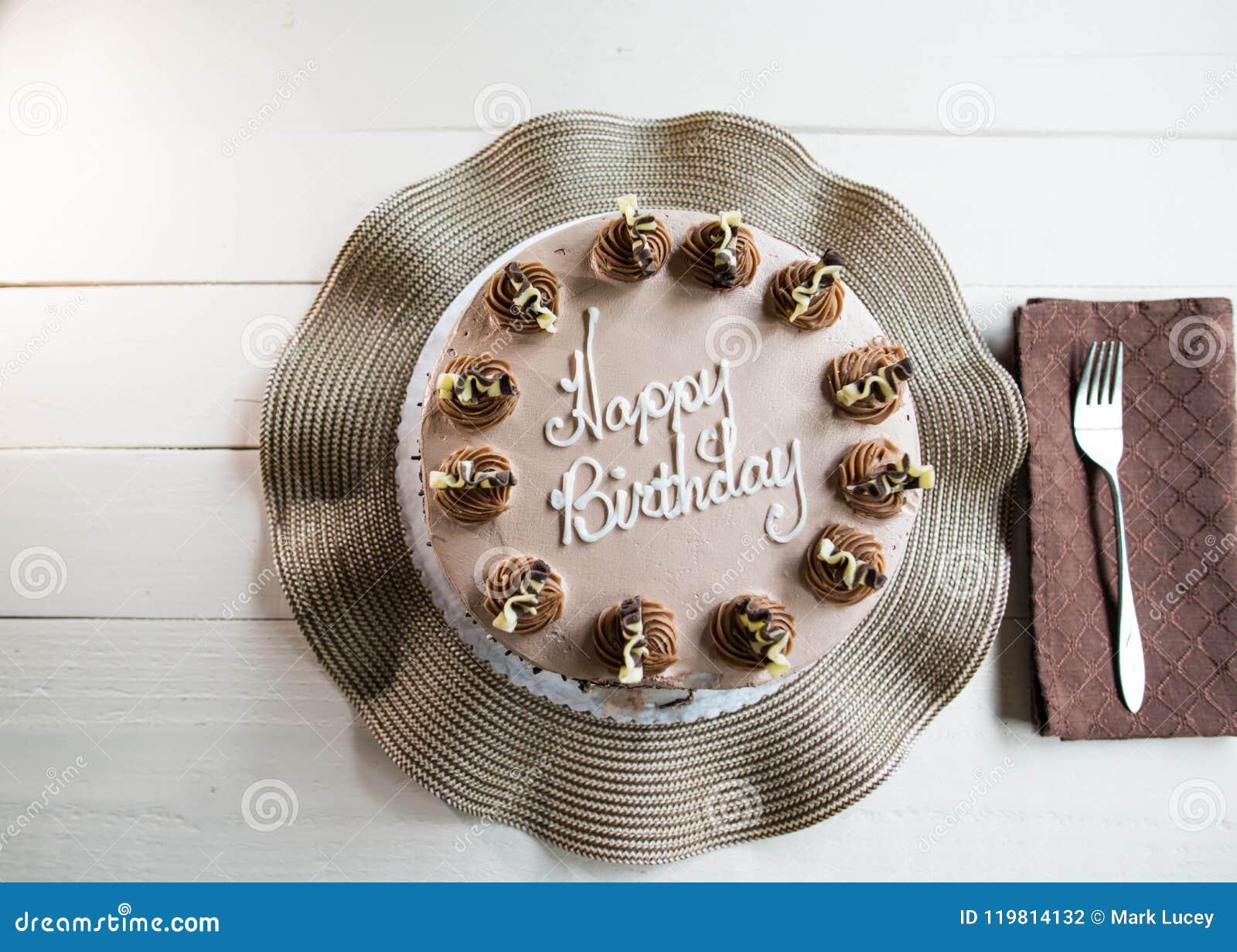 Chocolate Fancy Birthday Cake Stock Photo Image Of Cream Event