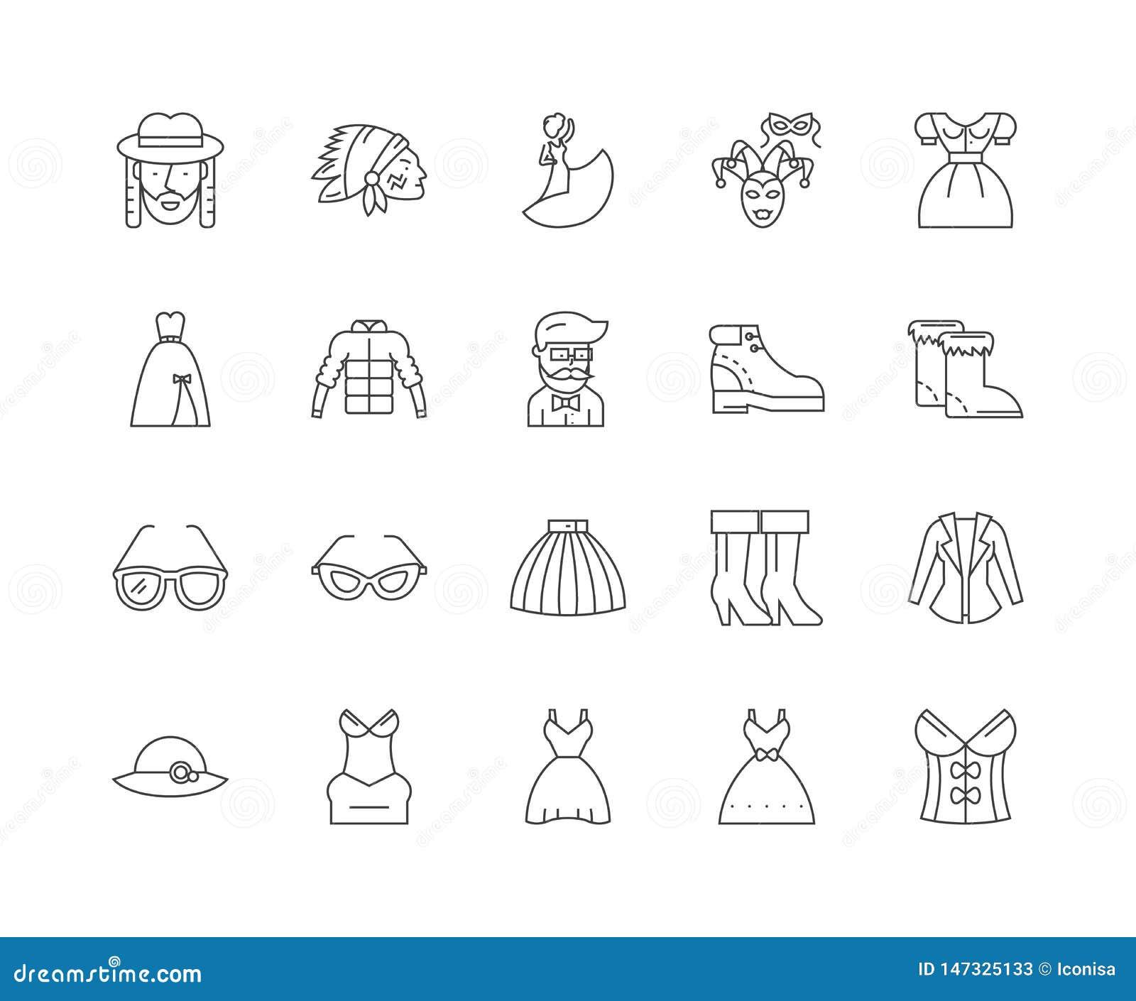 Fancy Dress Line Icons, Signs, Vector Set, Outline ...