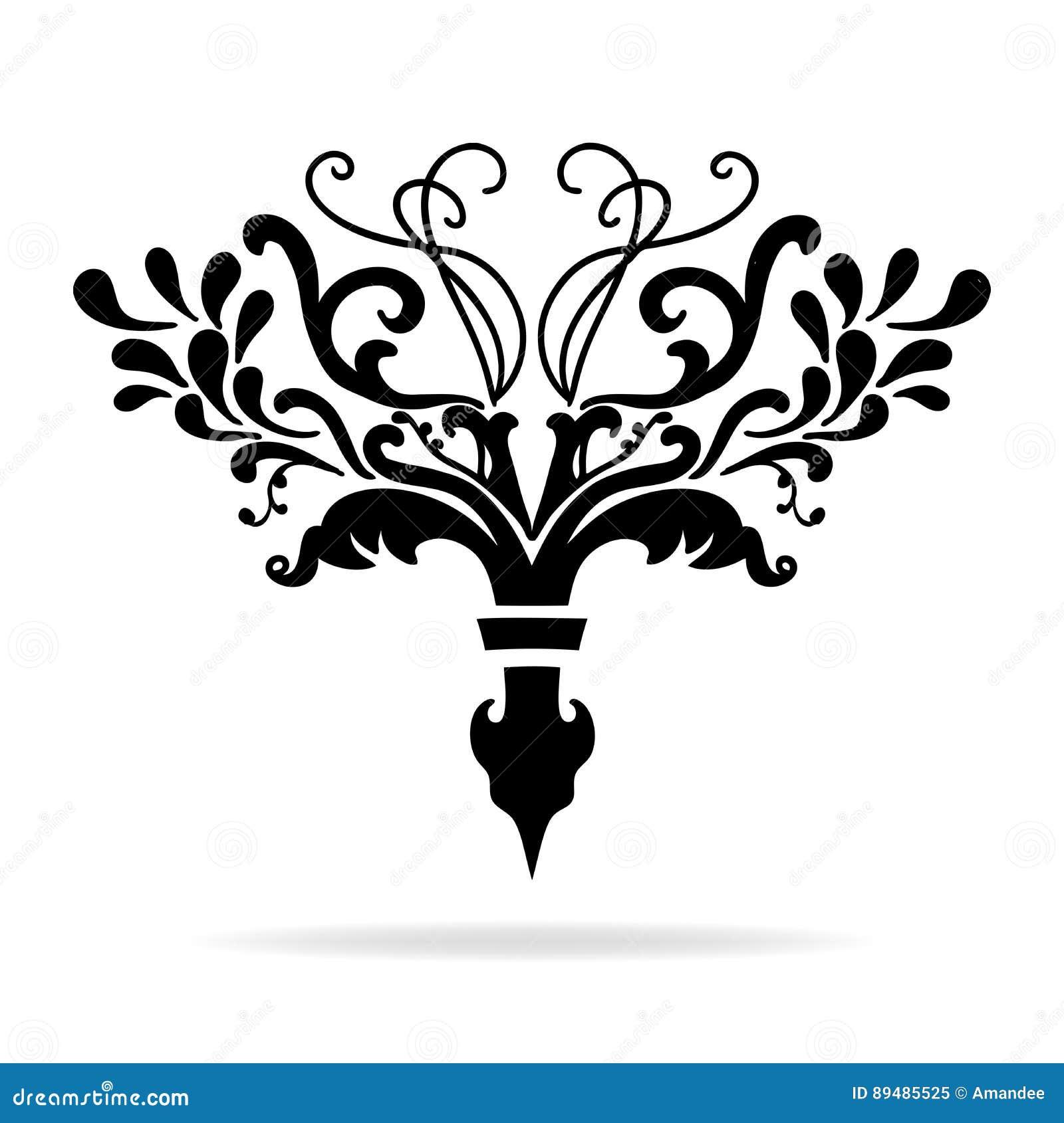Fancy Fleur De Lis Chapter Or Text Divider Design With Vines And