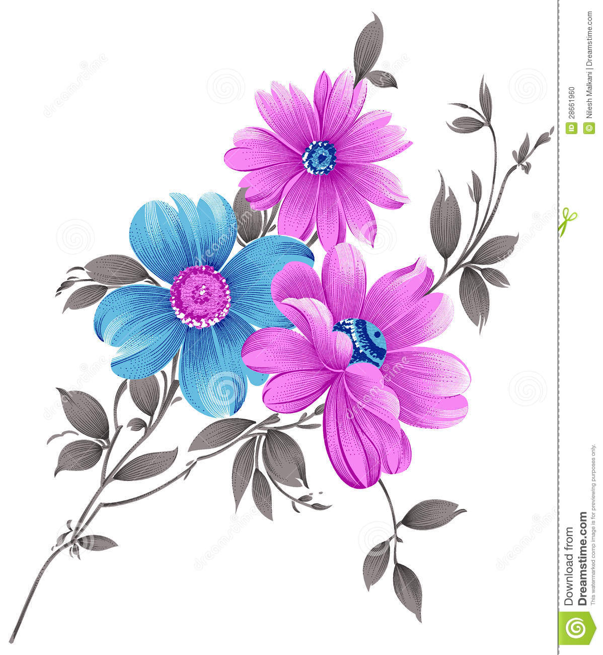 Fancy Flower Bunch Stock Illustration Illustration Of Bunch 28661960