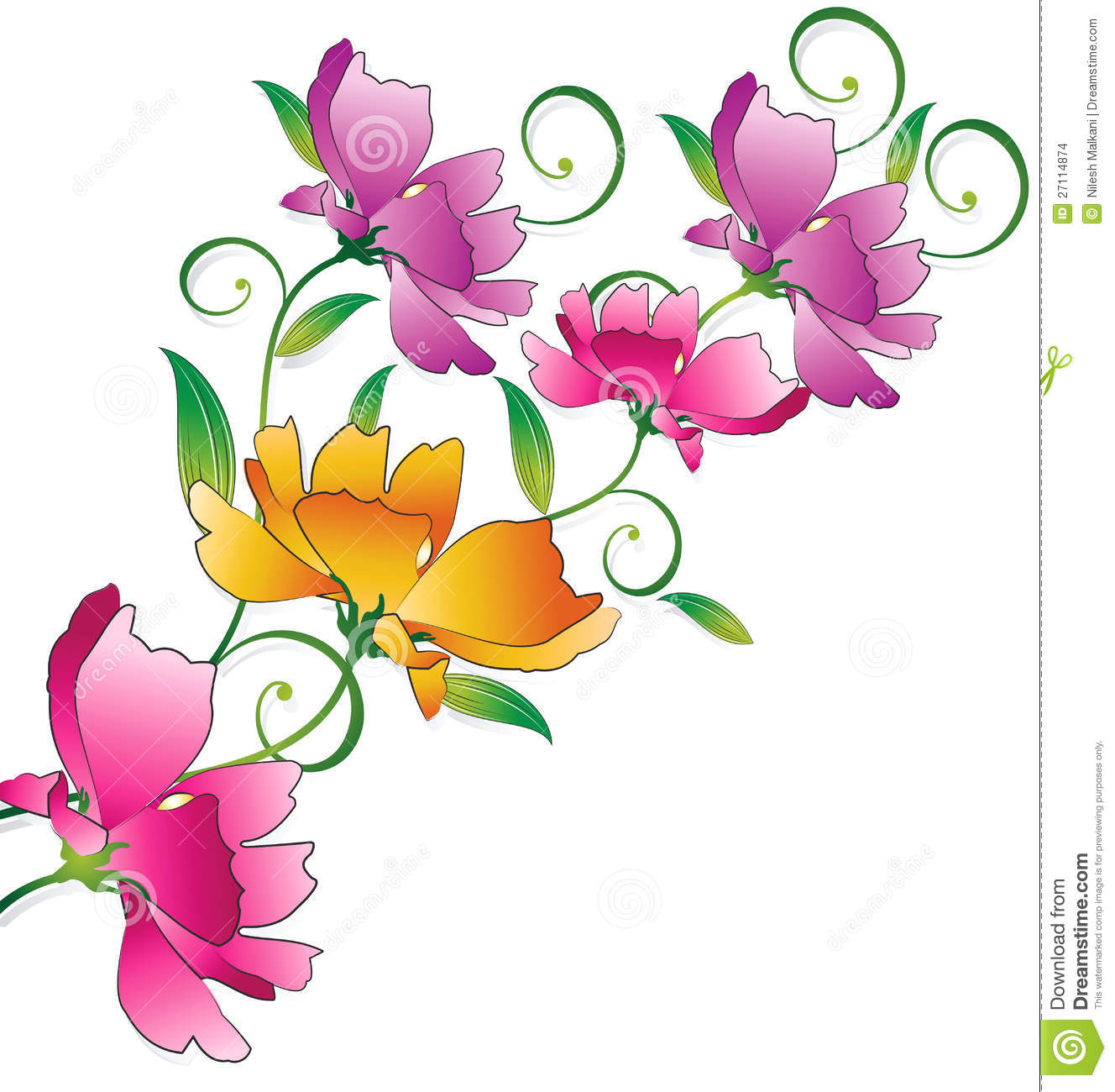 Fancy Flower Bunch For Greeting Card Stock Vector ...