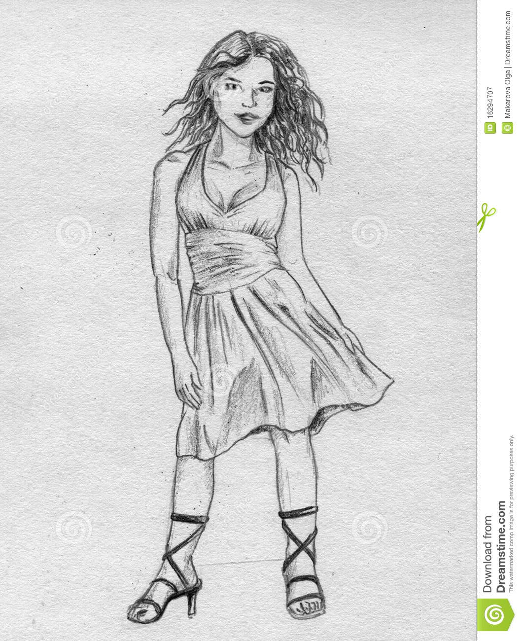 Fancy Girl Sketch Royalty Free Stock Photography Image