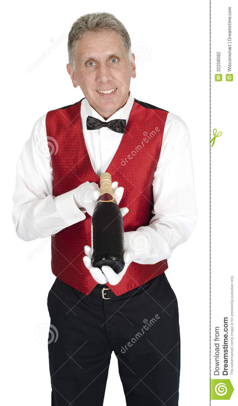 Fancy Head Waiter Holding Wine Bottle Isolated Stock Photo