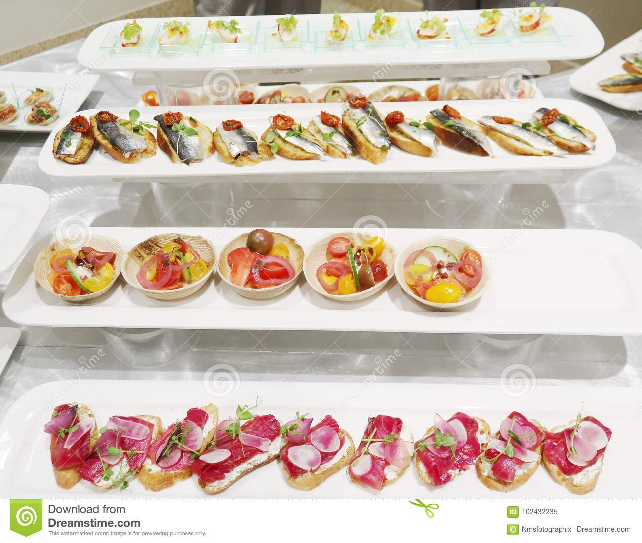 Rows Of Hors D Oeuvre Stock Image Image Of Selection 102432235