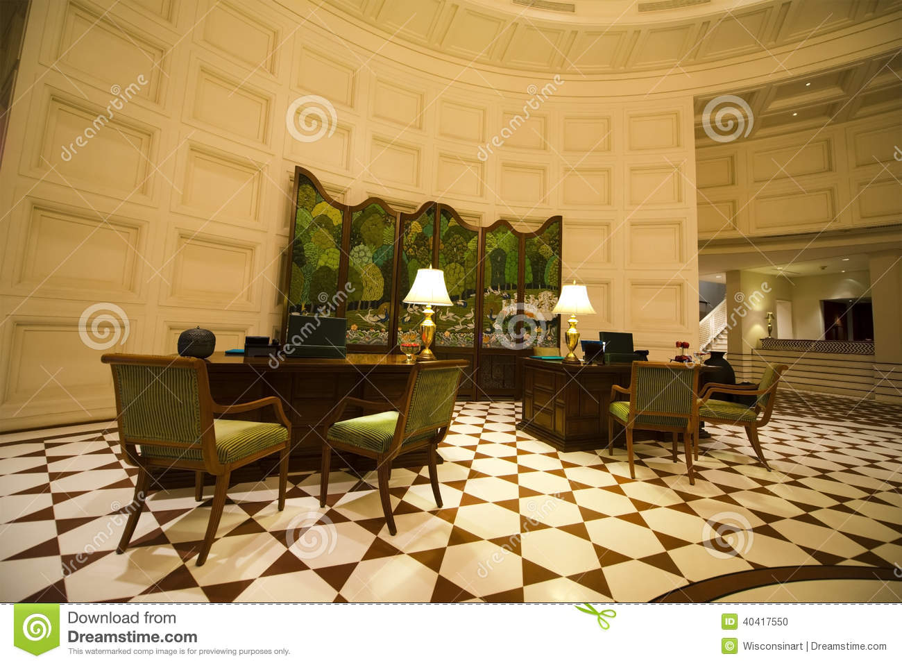 fancy lobby and reception area at a plush luxury resort hotel the