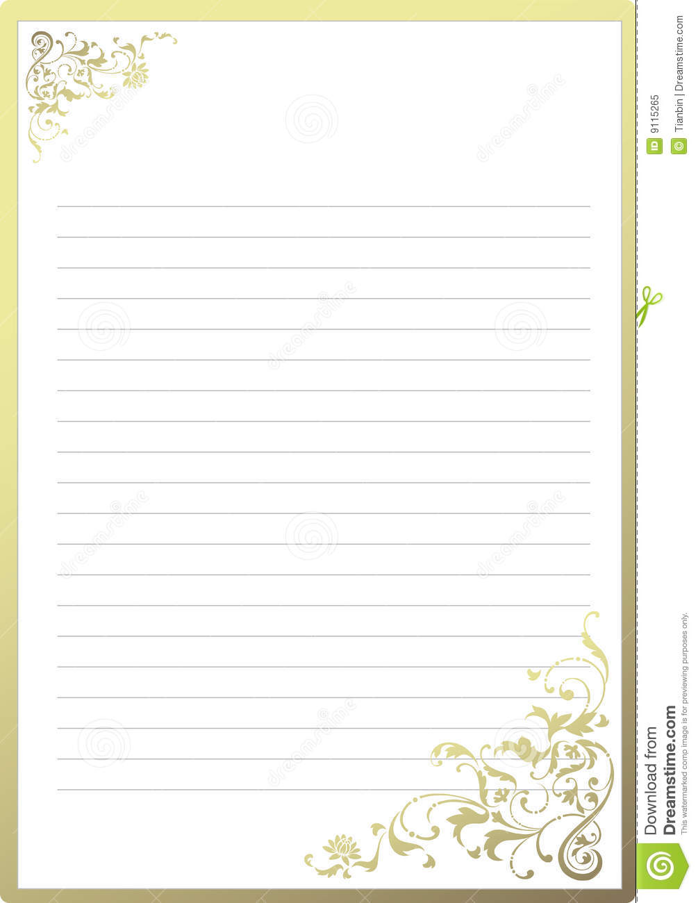 fancy notepaper stock vector illustration of golden decorated