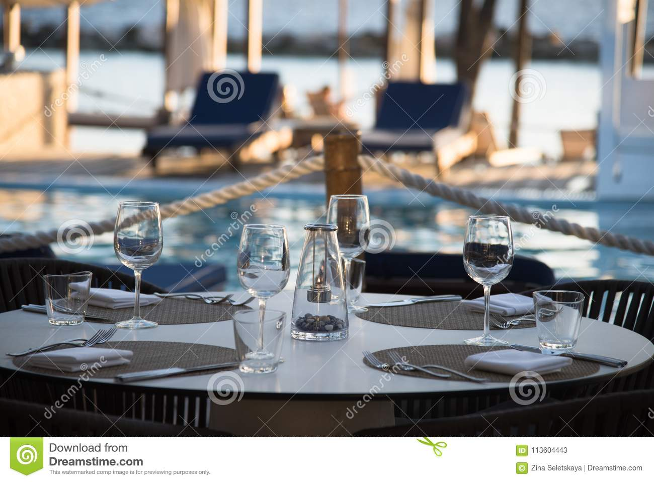 Fancy Outdoor Restaurant Table Setting Stock Image Image Of Knife Dining 113604443
