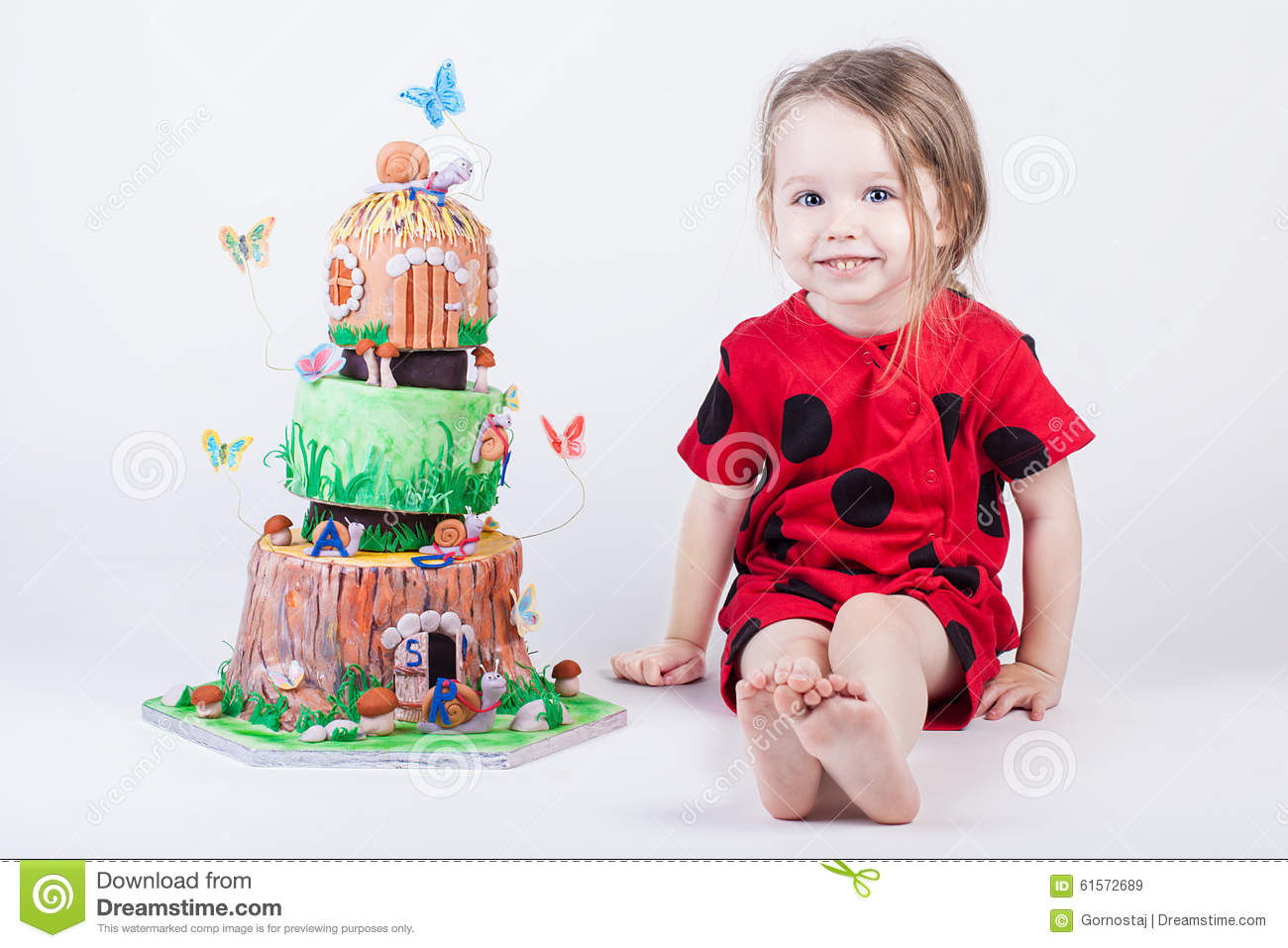 Fine Fancy And Pretty Birthday Cake Near Little Child Stock Image Personalised Birthday Cards Veneteletsinfo