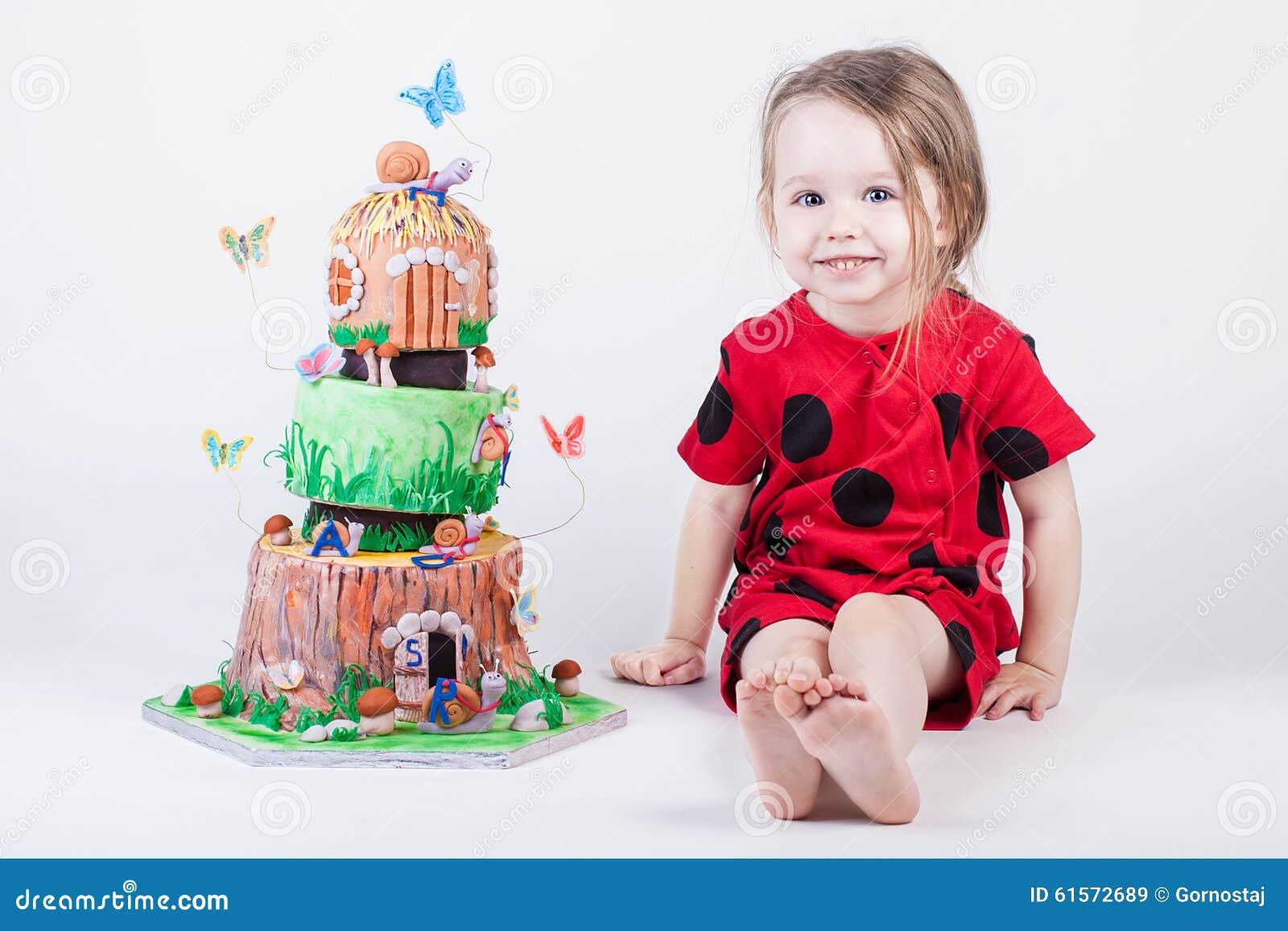 Pleasing Fancy And Pretty Birthday Cake Near Little Child Stock Image Funny Birthday Cards Online Fluifree Goldxyz