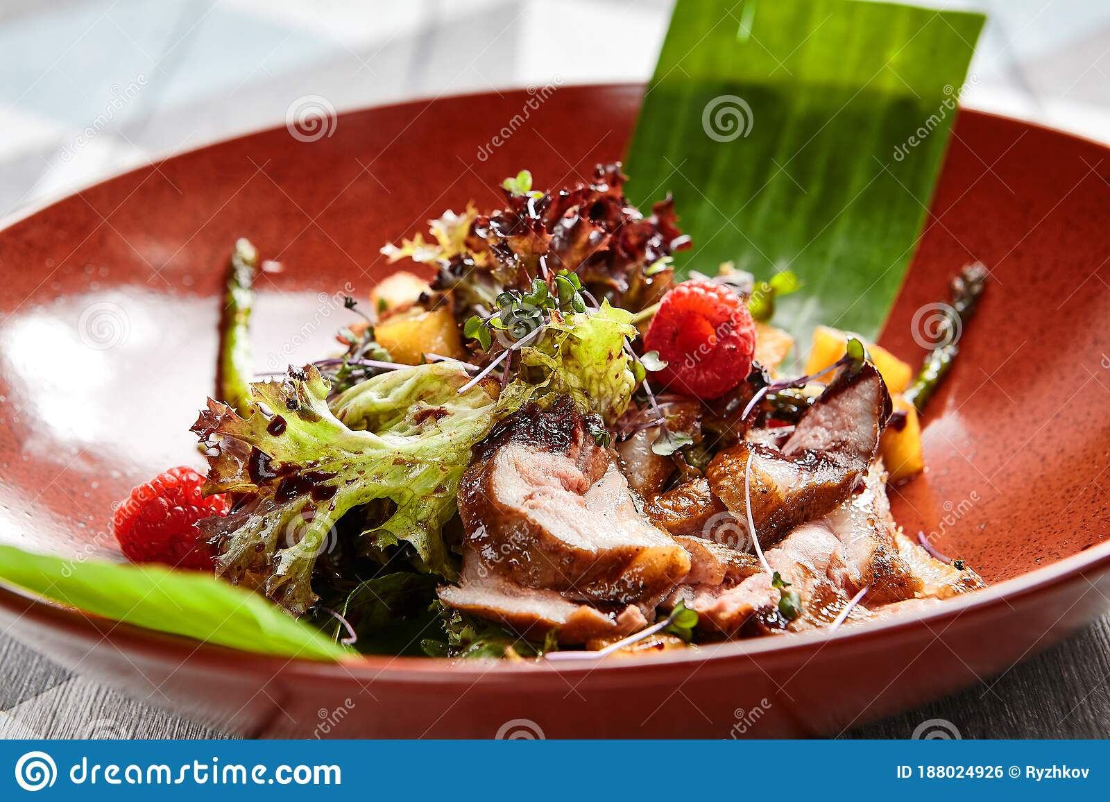 Fancy Restaurant First Meal Course Stock Photo Image Of Duck Wooden 188024926