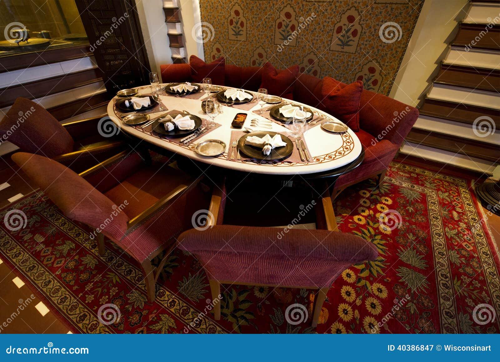 Fancy Restaurant Table in a Luxury Resort Hotel