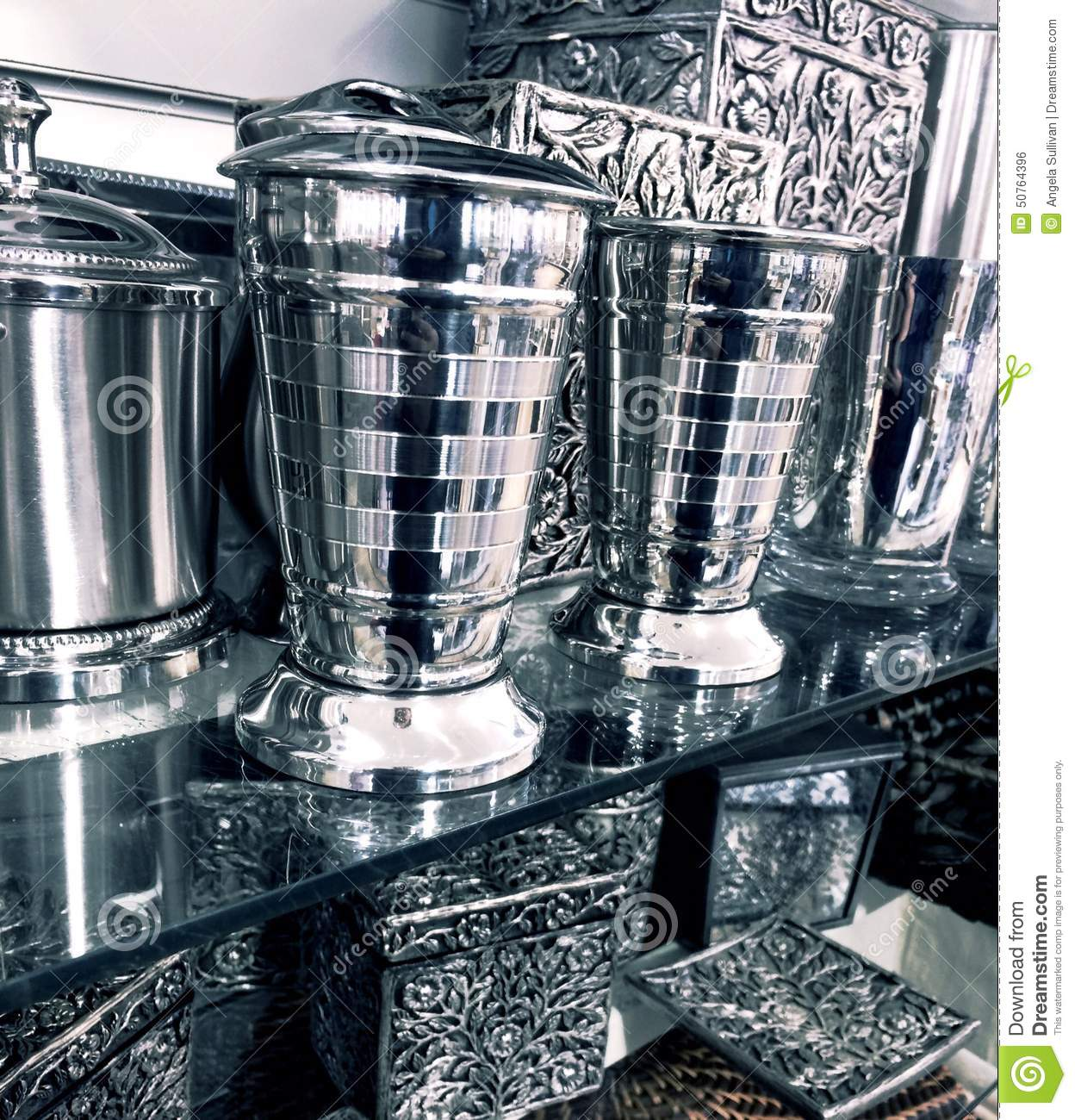 fancy silver home decor items stock photo image 50764396
