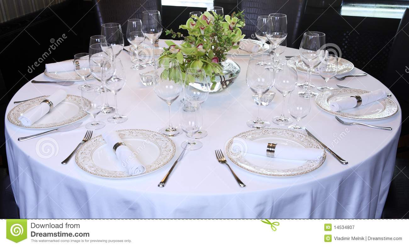Fancy Table Set For A Dinner. Cloth, Green.