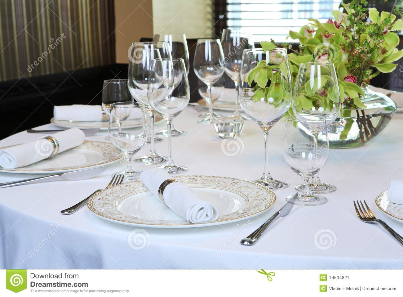 Fancy Table Set For A Dinner Stock Image Image Of Green