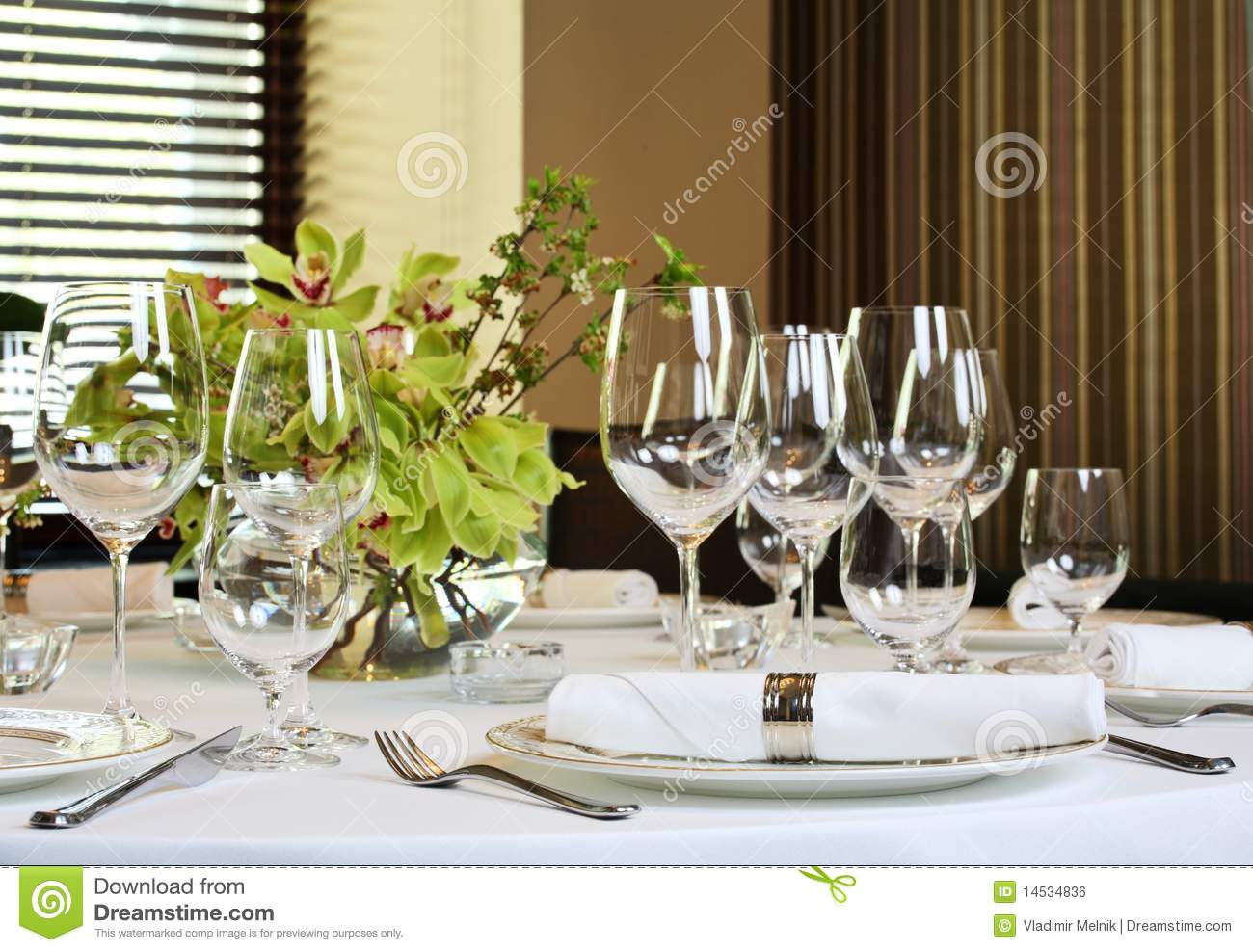 Fancy Dinner Table Set Royalty Free Stock Photography
