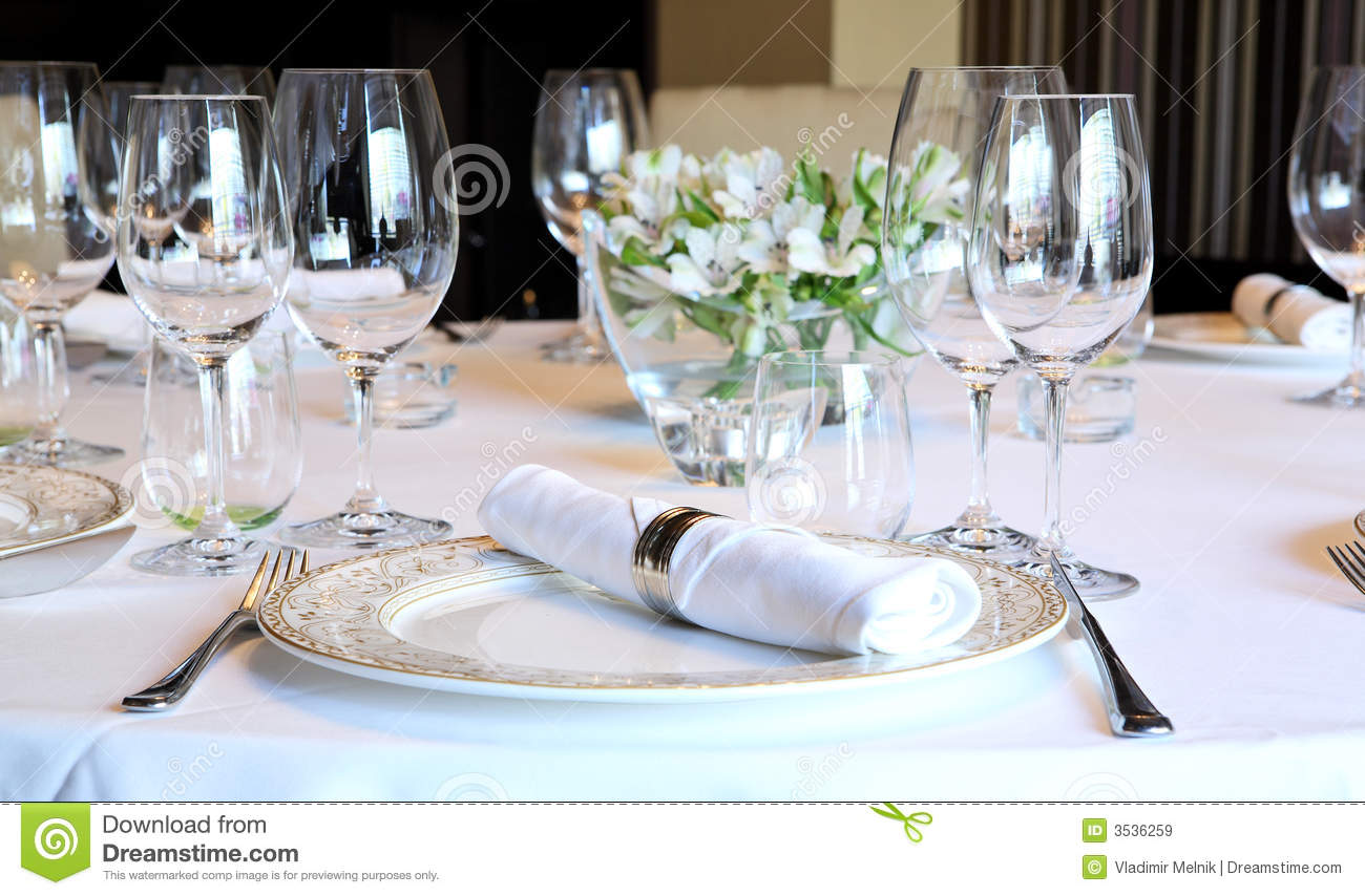 Fancy table set for a dinner royalty free stock images for Fancy dinner table