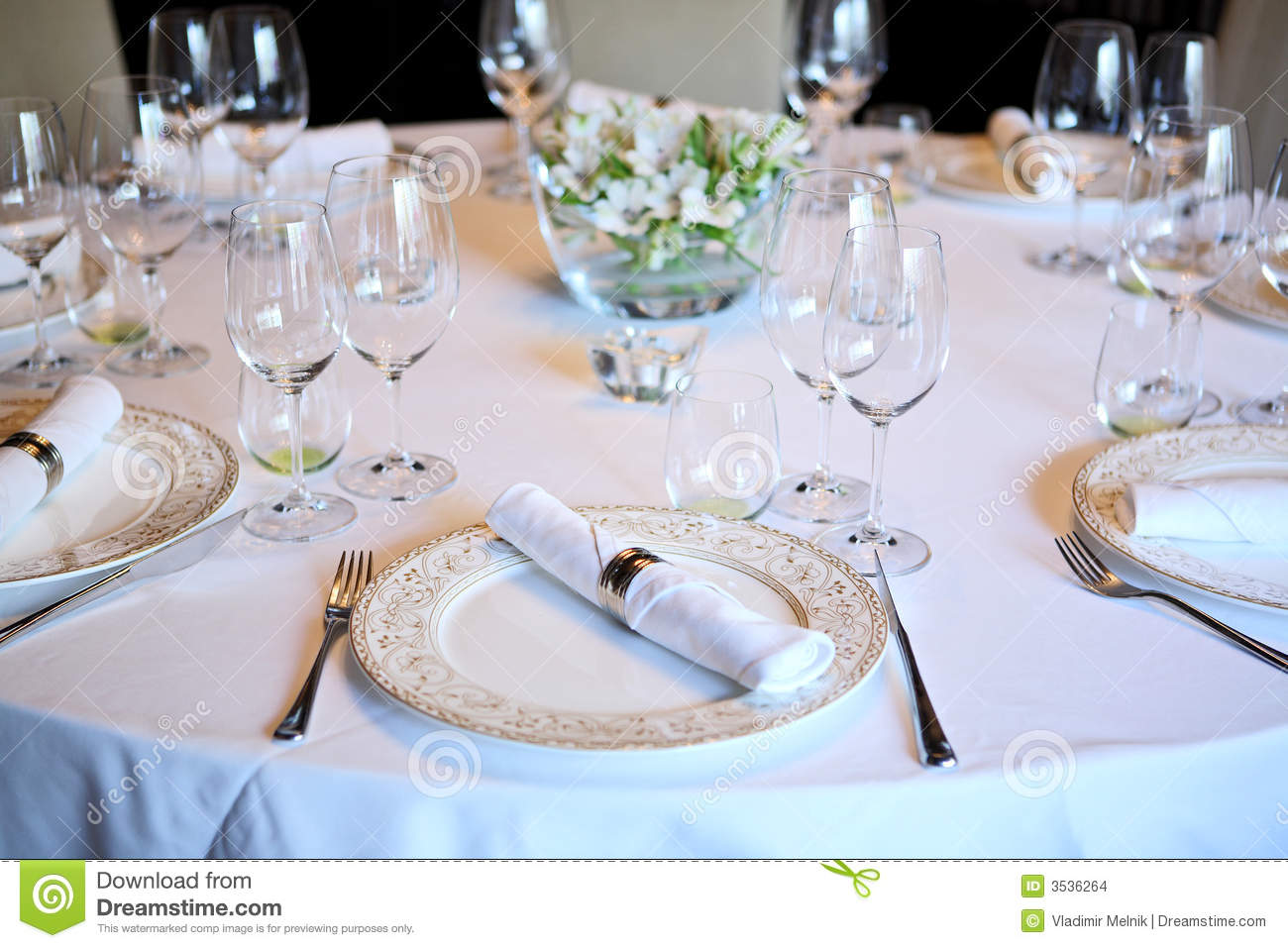 Fancy Table Set For A Dinner Stock Photo Image 3536264