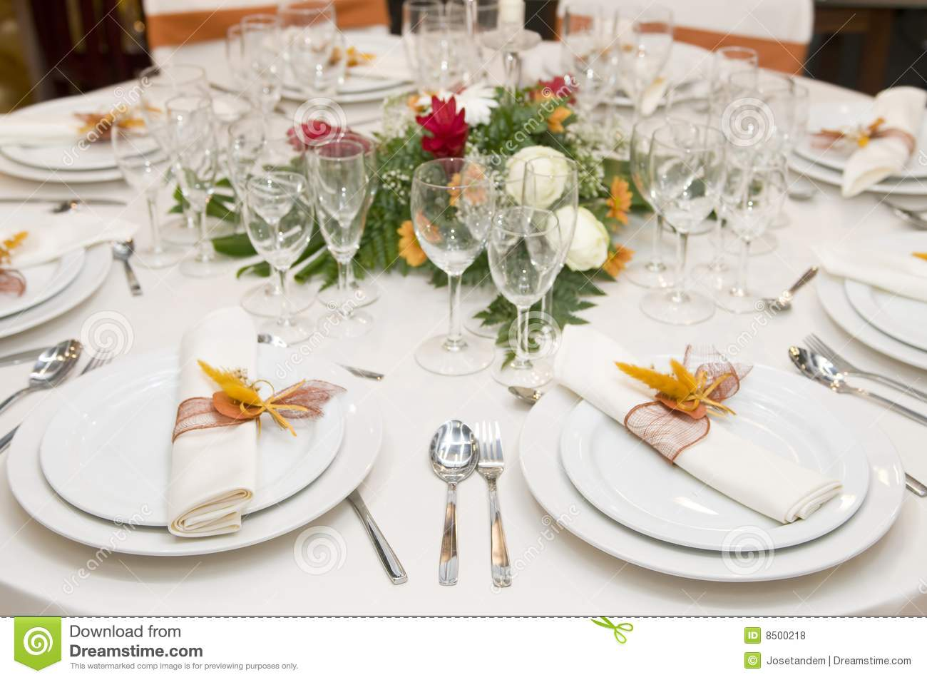 Fancy Table Set For A Wedding Celebration Royalty Free