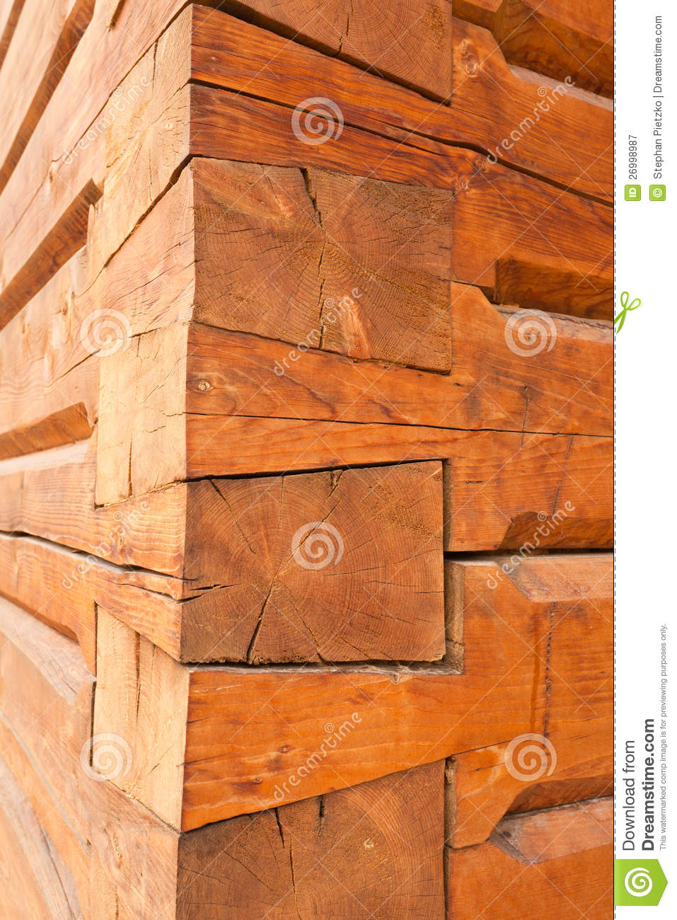 Fancy Timber Joints On The Corner Of Log Cabin Stock Image ...