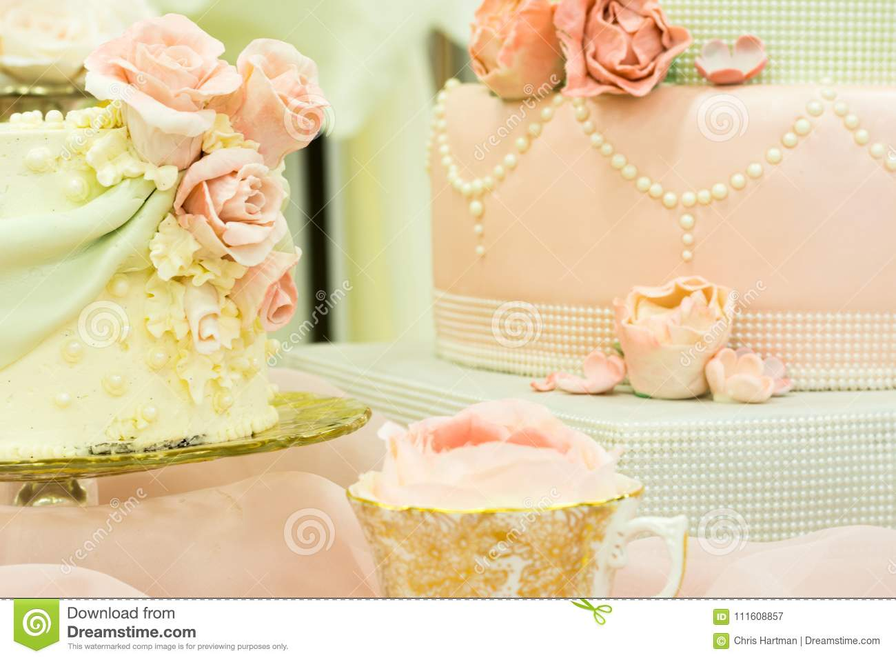 A Fancy Wedding Cake Display Table Stock Image - Image of dessert ...