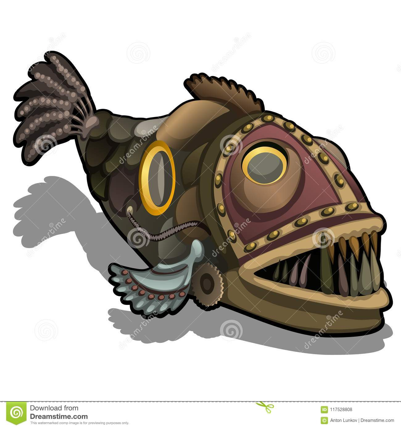 Fangtooth fish in the style of steam punk isolated on white background. Cartoon vector close-up illustration.