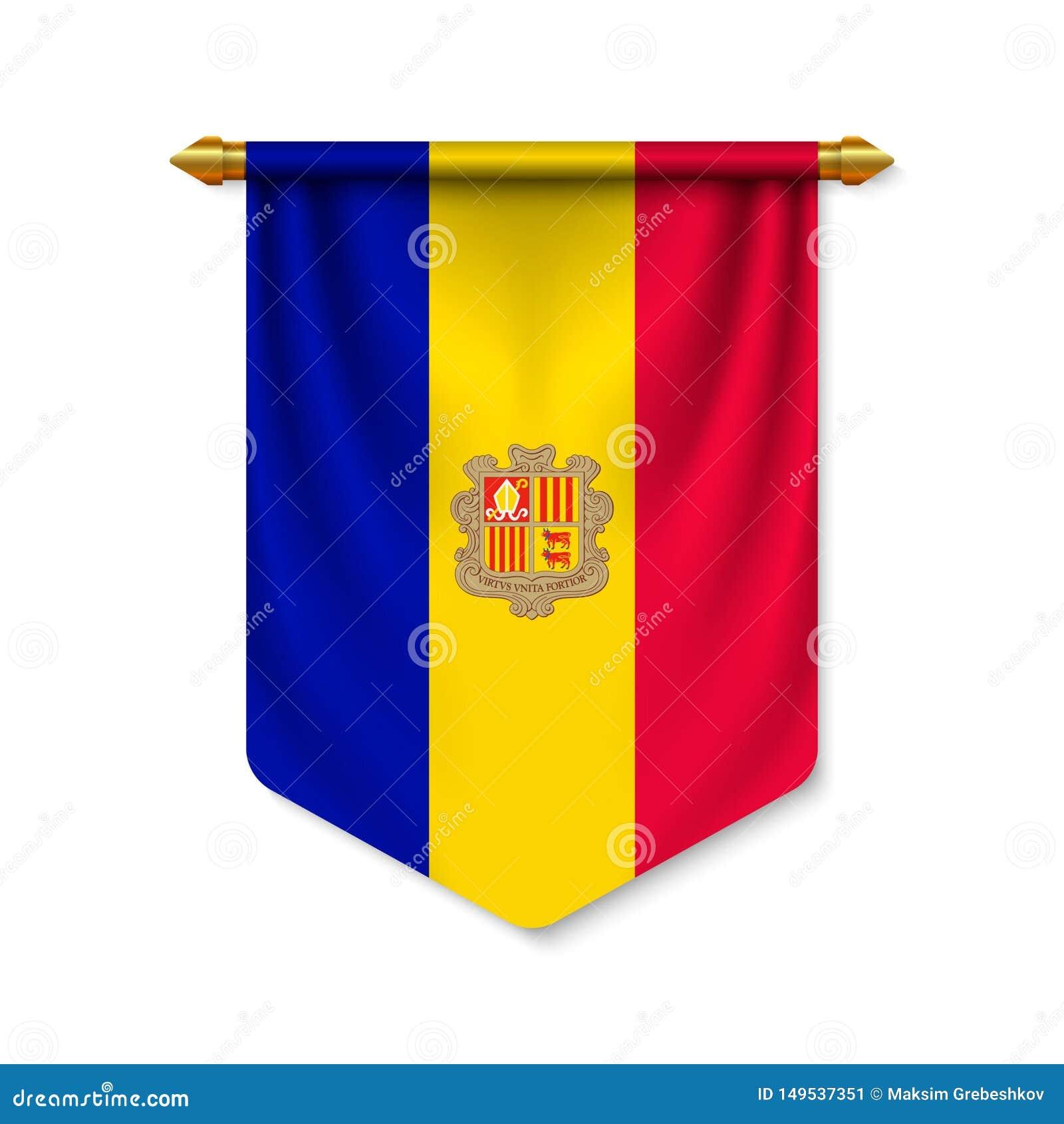 Fanion 3d r?aliste avec le drapeau