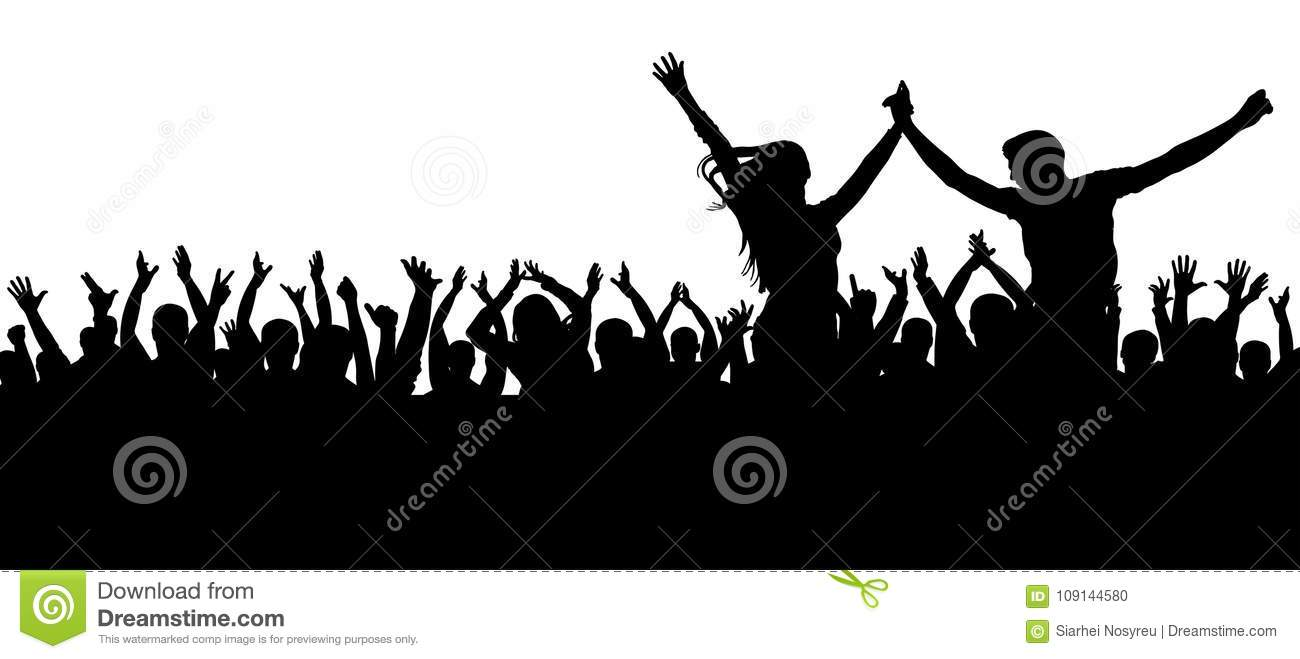 Fans dance concert, disco. Cheerful crowd silhouette. Party people, applaud. Young couple at a party.