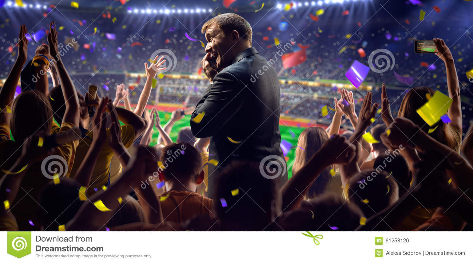 Fans on stadium game businessman