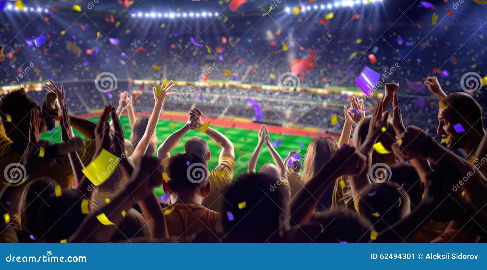 Fans on stadium game panorama view