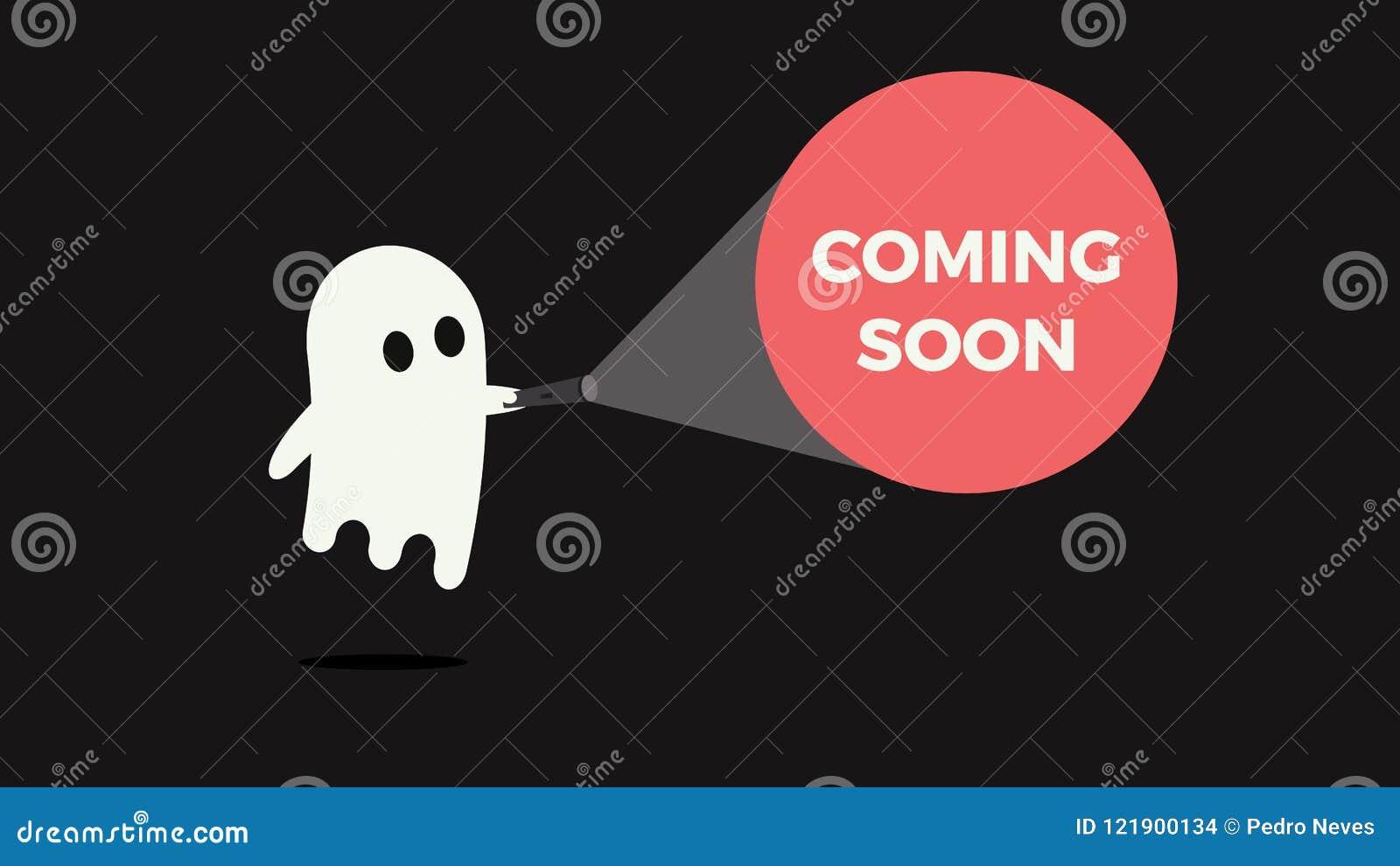 Fantôme mignon avec sa lampe-torche se dirigeant vers un message pour le produit nouveau ou le film venant bientôt