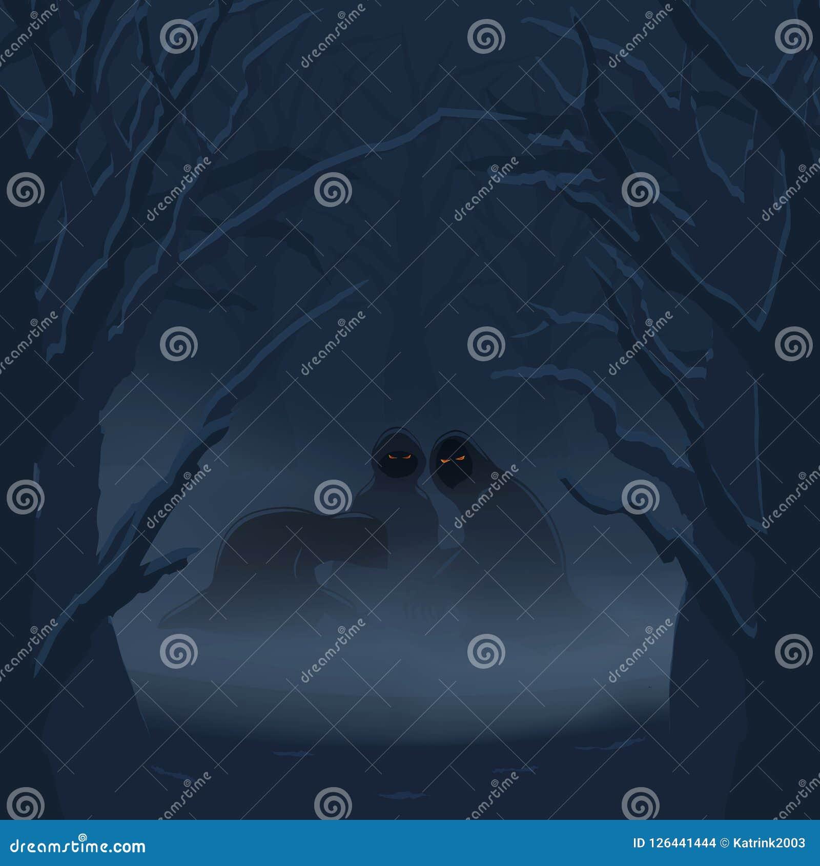 Fantômes à un arrière-plan brumeux de Halloween de forêt de nuit