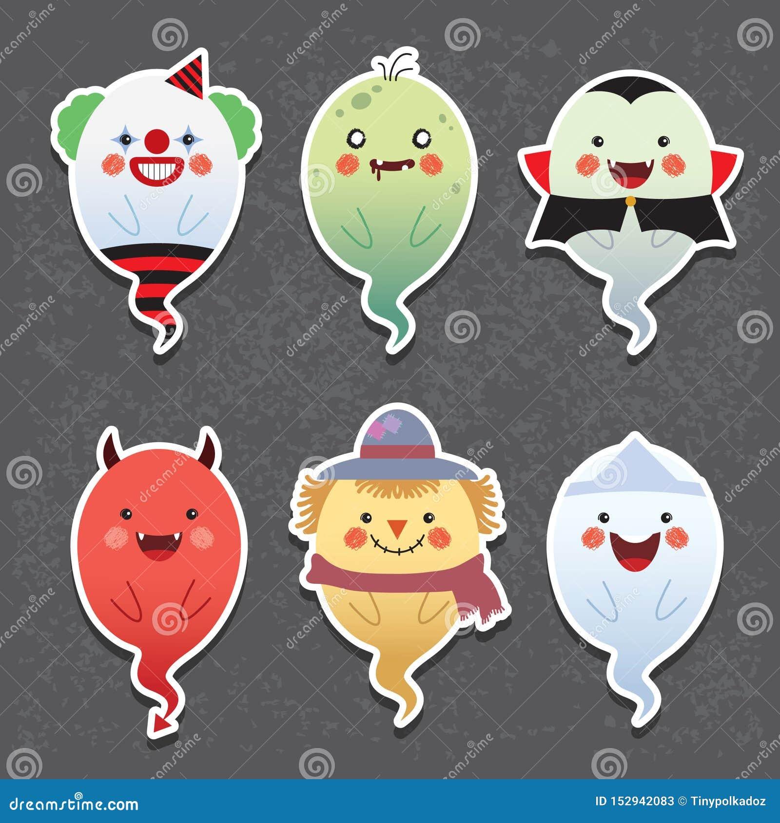 Fantômes de Halloween de bande dessinée - clown, zombi, vampire, diable, épouvantail et fantôme japonais