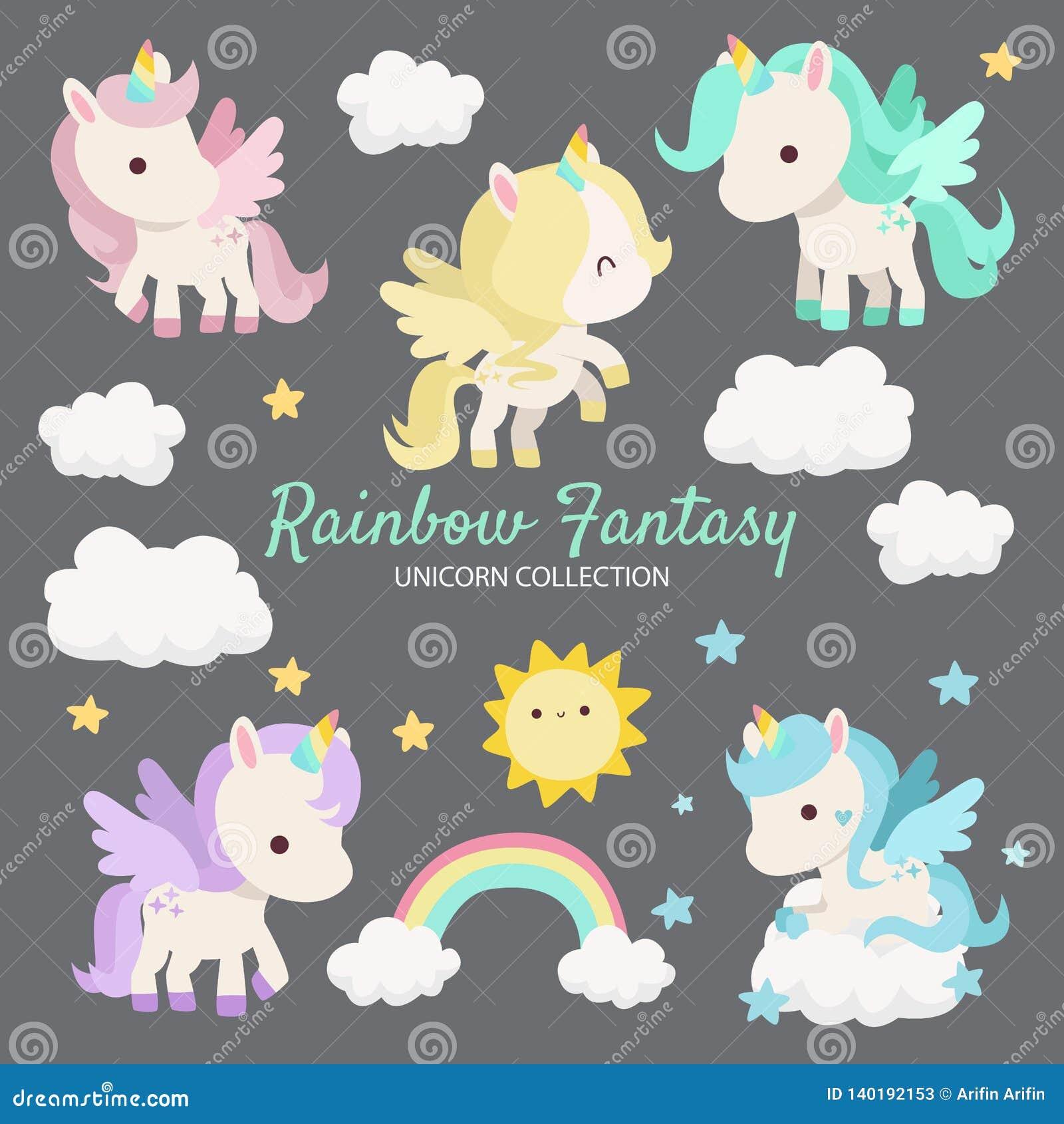 Fantasía Unicorn Characters del arco iris