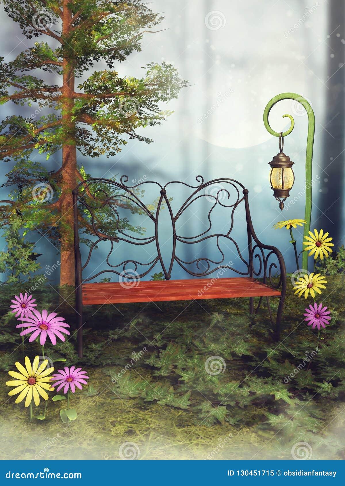 Fantasibänk och blommor