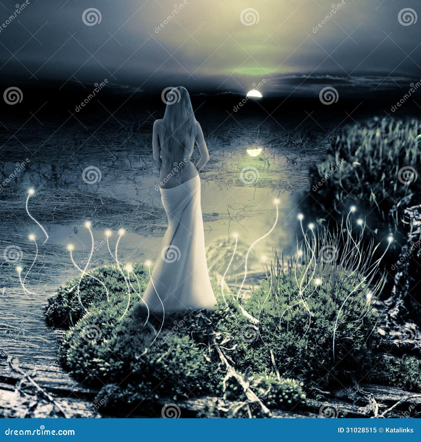 Fantasie magische wereld. Elf en zonsondergang