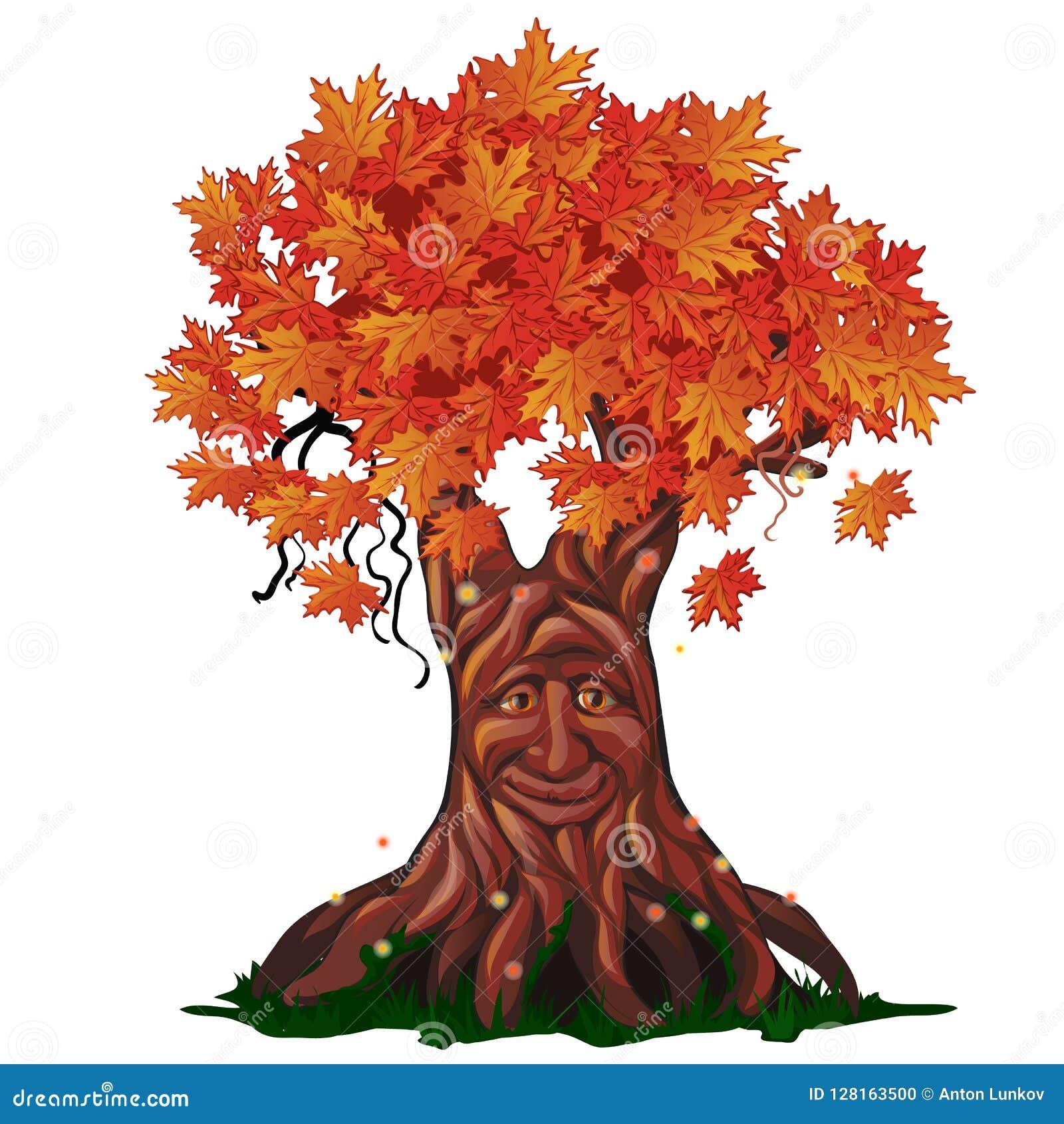 Fantasie vergankelijke die boom met gezicht in de herfst op witte achtergrond wordt geïsoleerd De gouden herfst in de verrukte bo