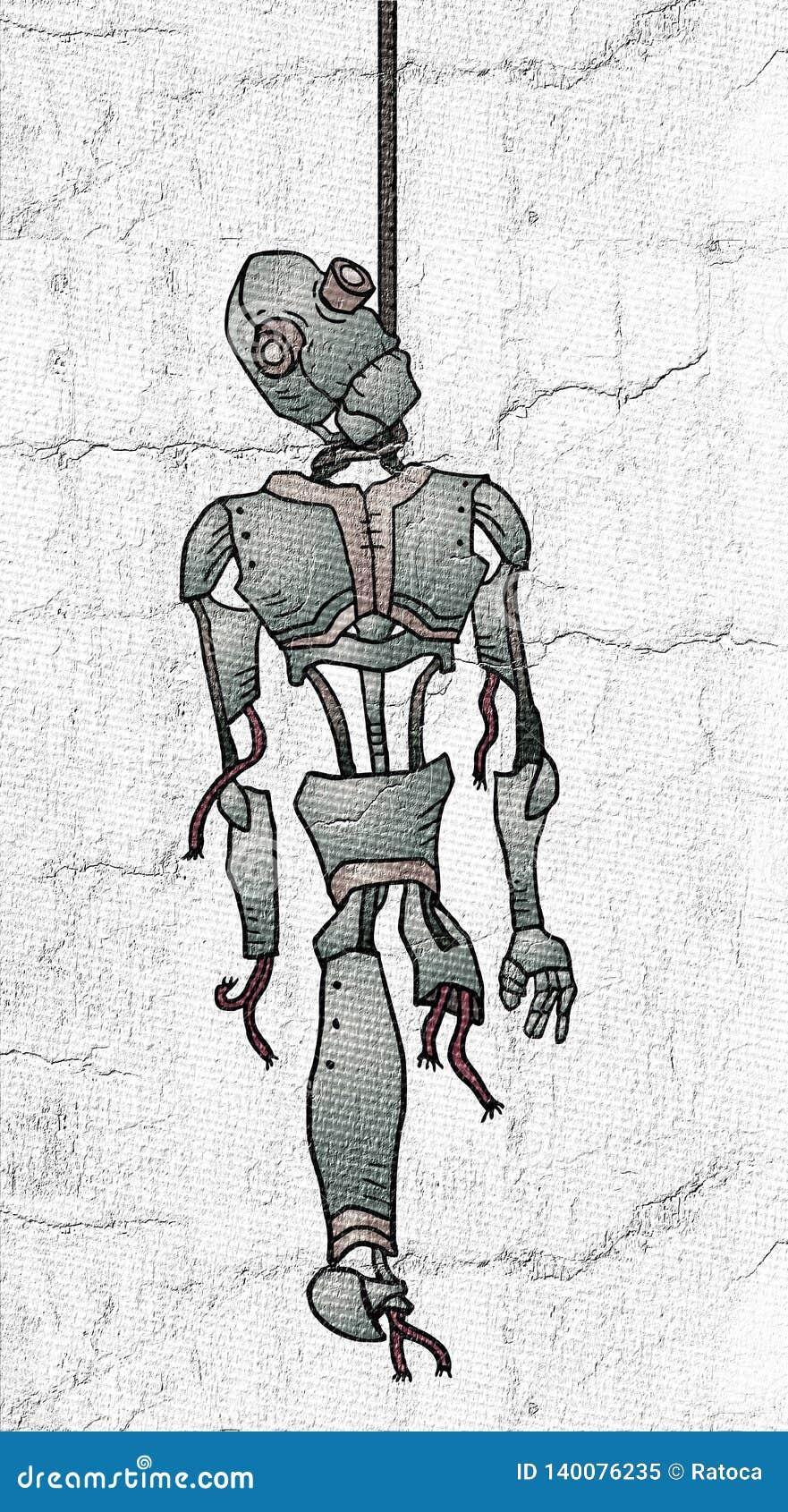 Fantasierijke gehangen robot