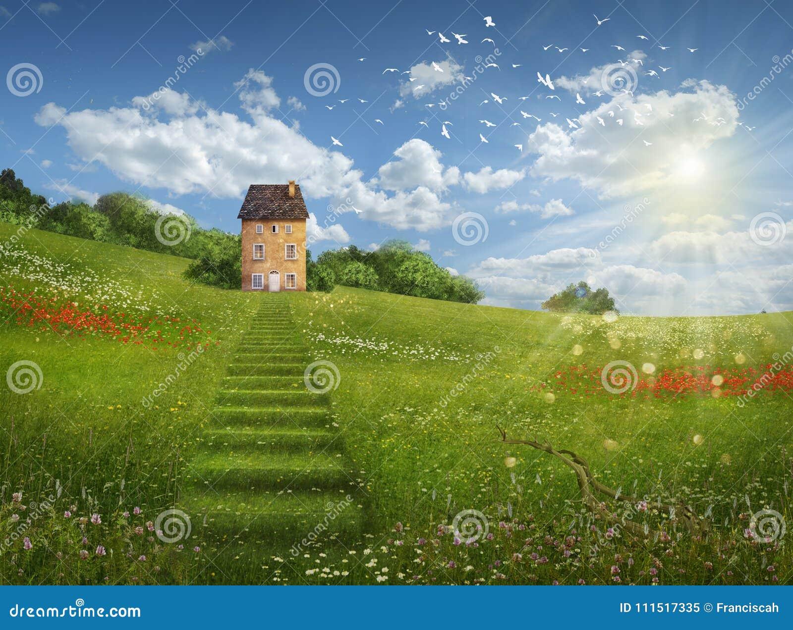 Fantasifält och hus i en härlig dag