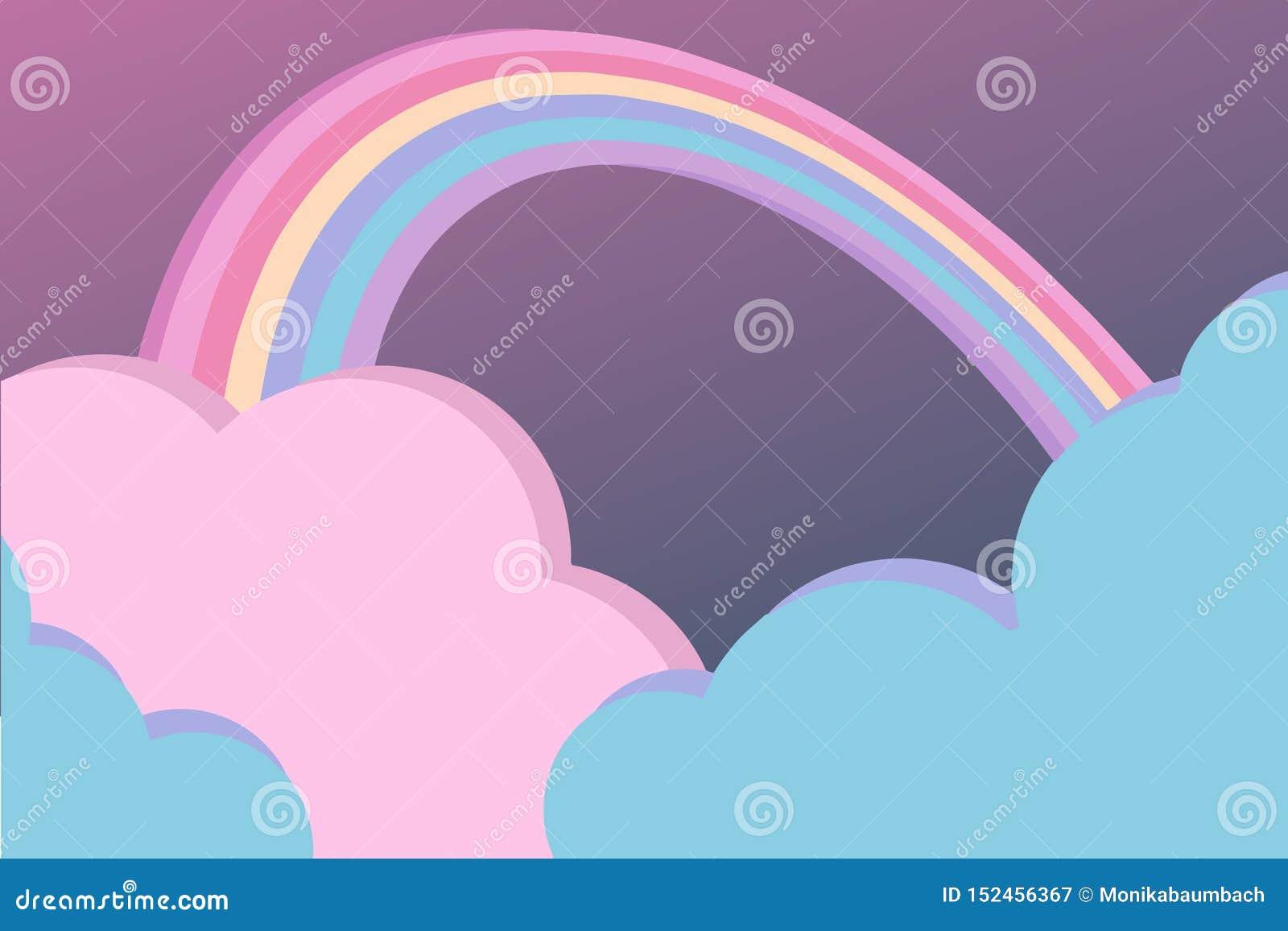 Fantasihimmelplats med gulliga rosa färg- och buemoln och färgrik bakgrund för vektor för regnbågetecknad filmstil, illustration