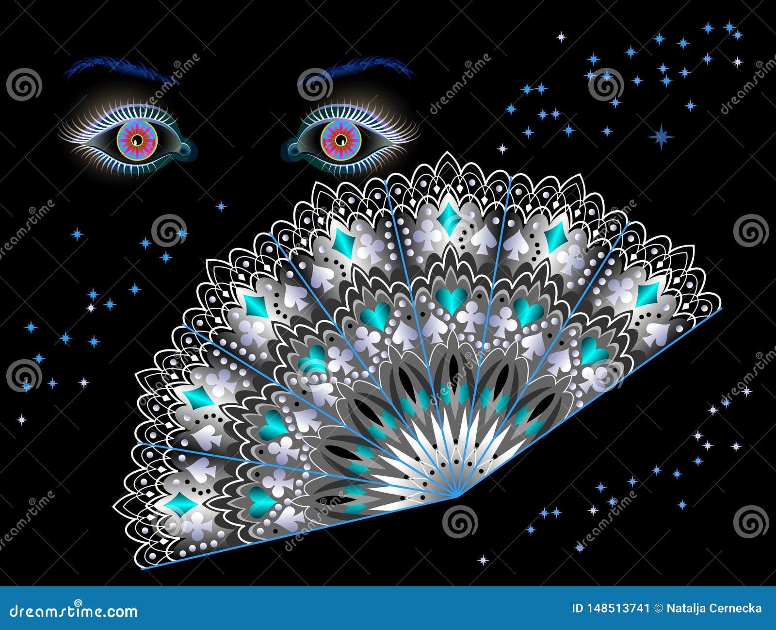 Fantasiillustration för affischen för förutsägande salonger eller nattklubb för förmögenhet Sagolika ögon och fan på natten på sv