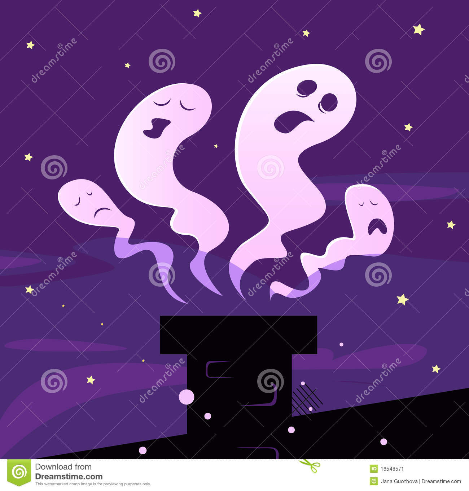 Fantasmas de Víspera de Todos los Santos que vuelan alrededor de la chimenea