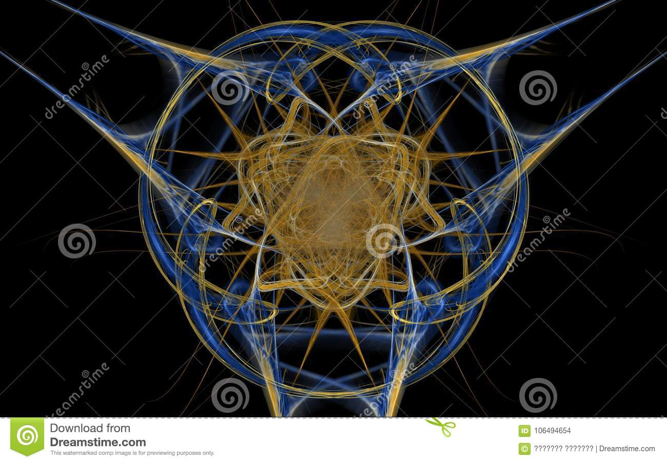 Fantastic Abstract Symbol In The Form Of Intersecting Lines Of Blue
