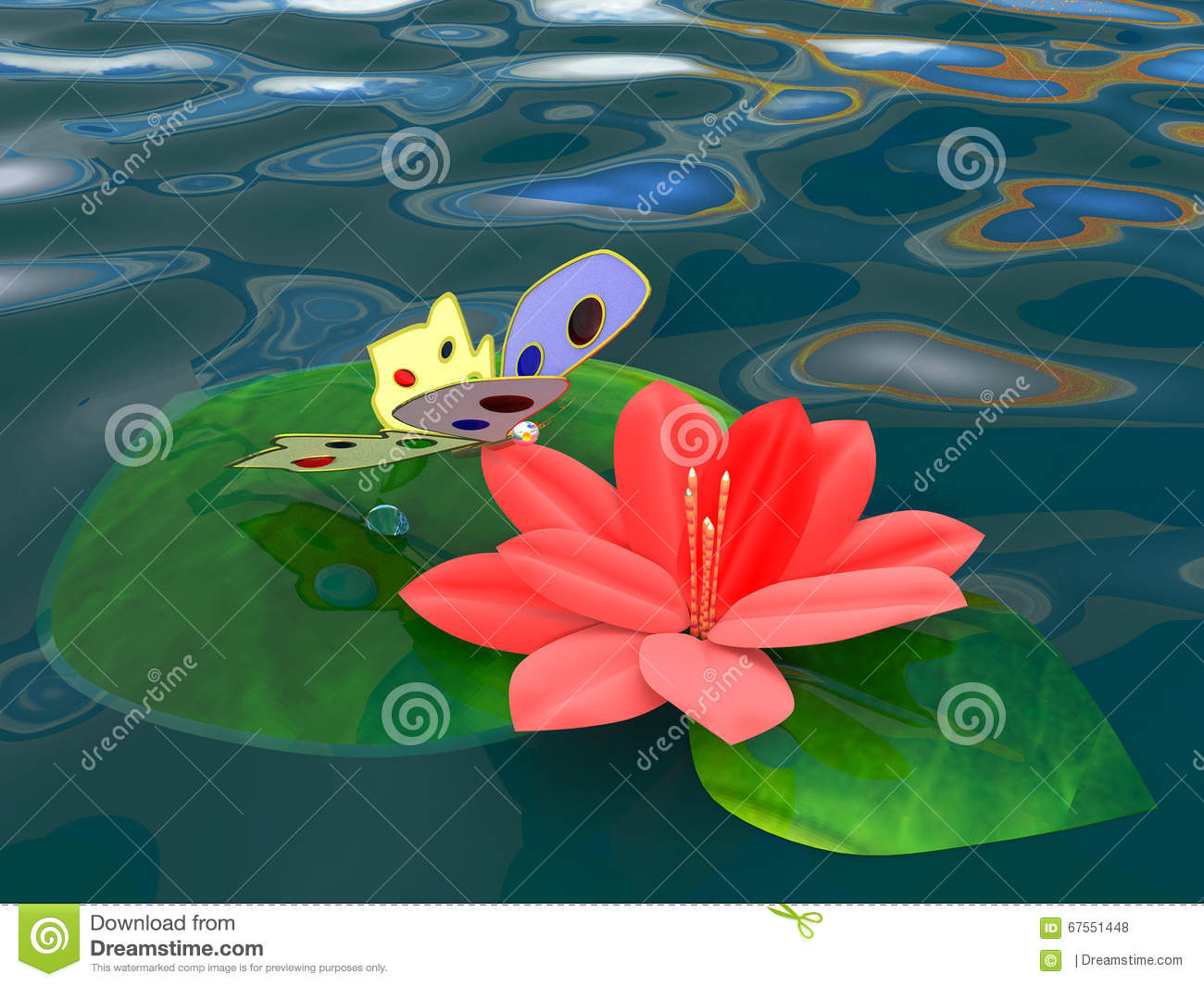 Fantastic Butterfly On A Flower Of The Red Lotus Stock Illustration